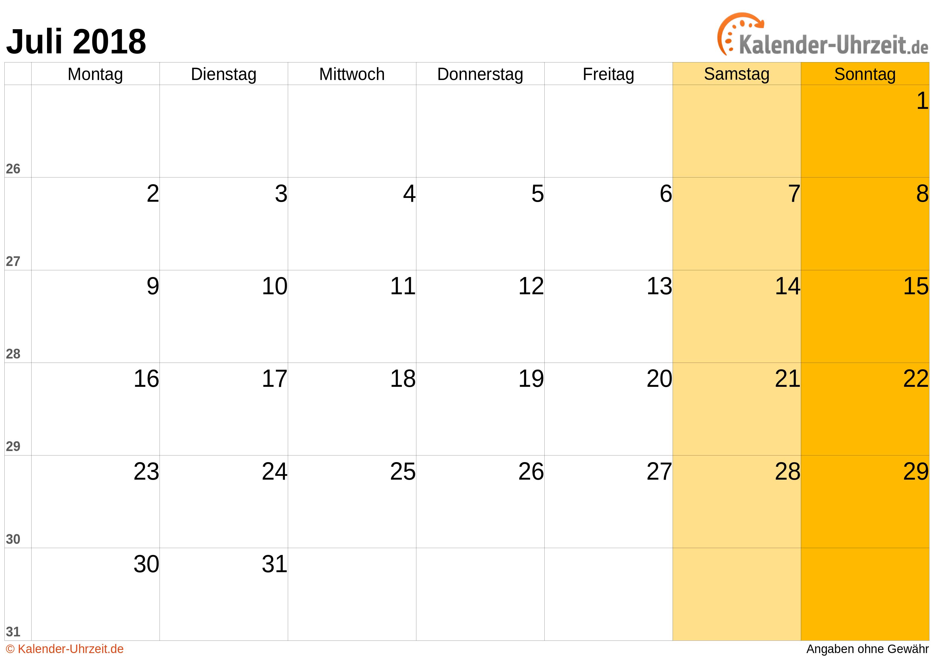 Kalender Juli 2018 mit Feiertagen