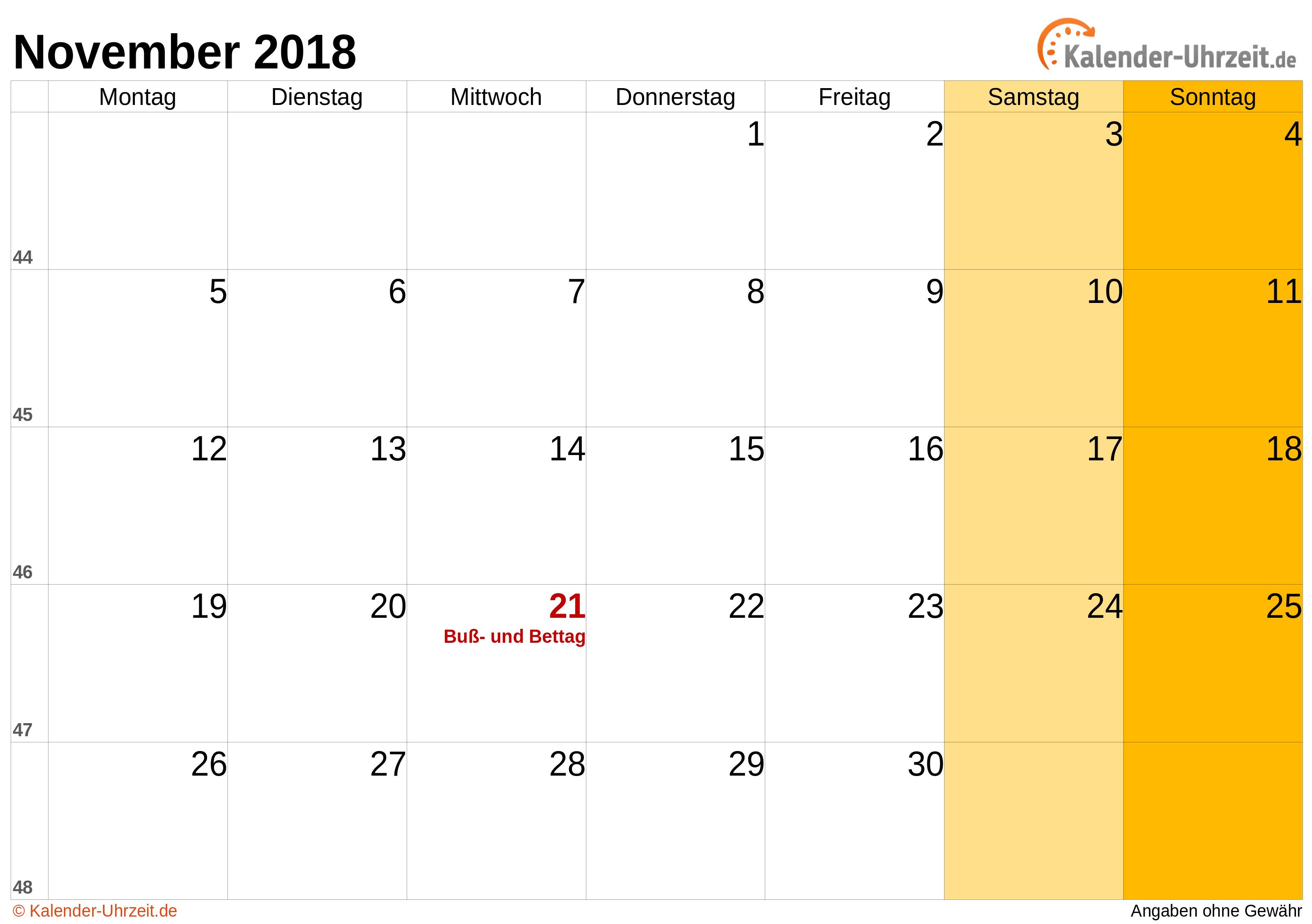 Kalender November 2018 mit Feiertagen