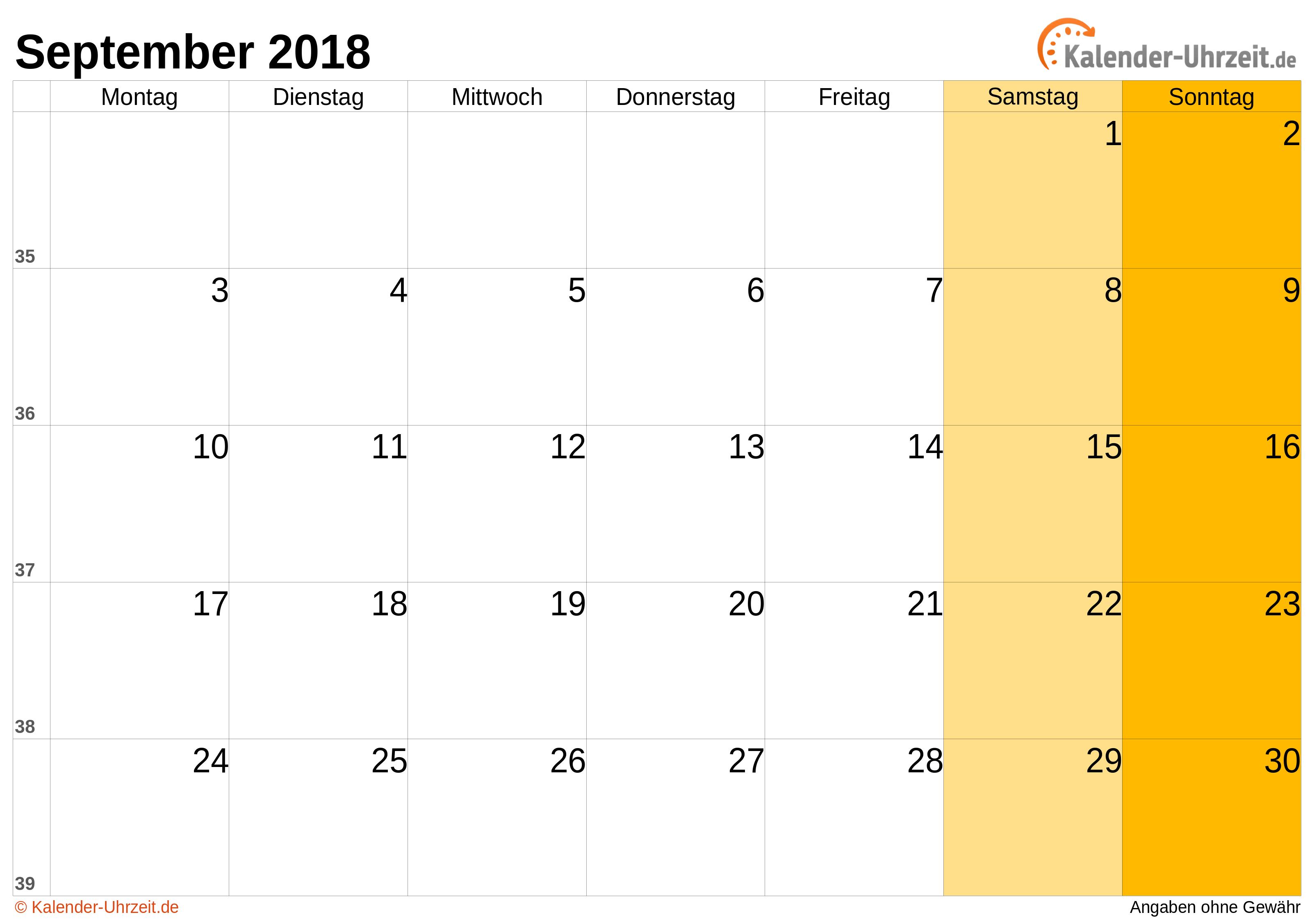 Kalender September 2018 mit Feiertagen