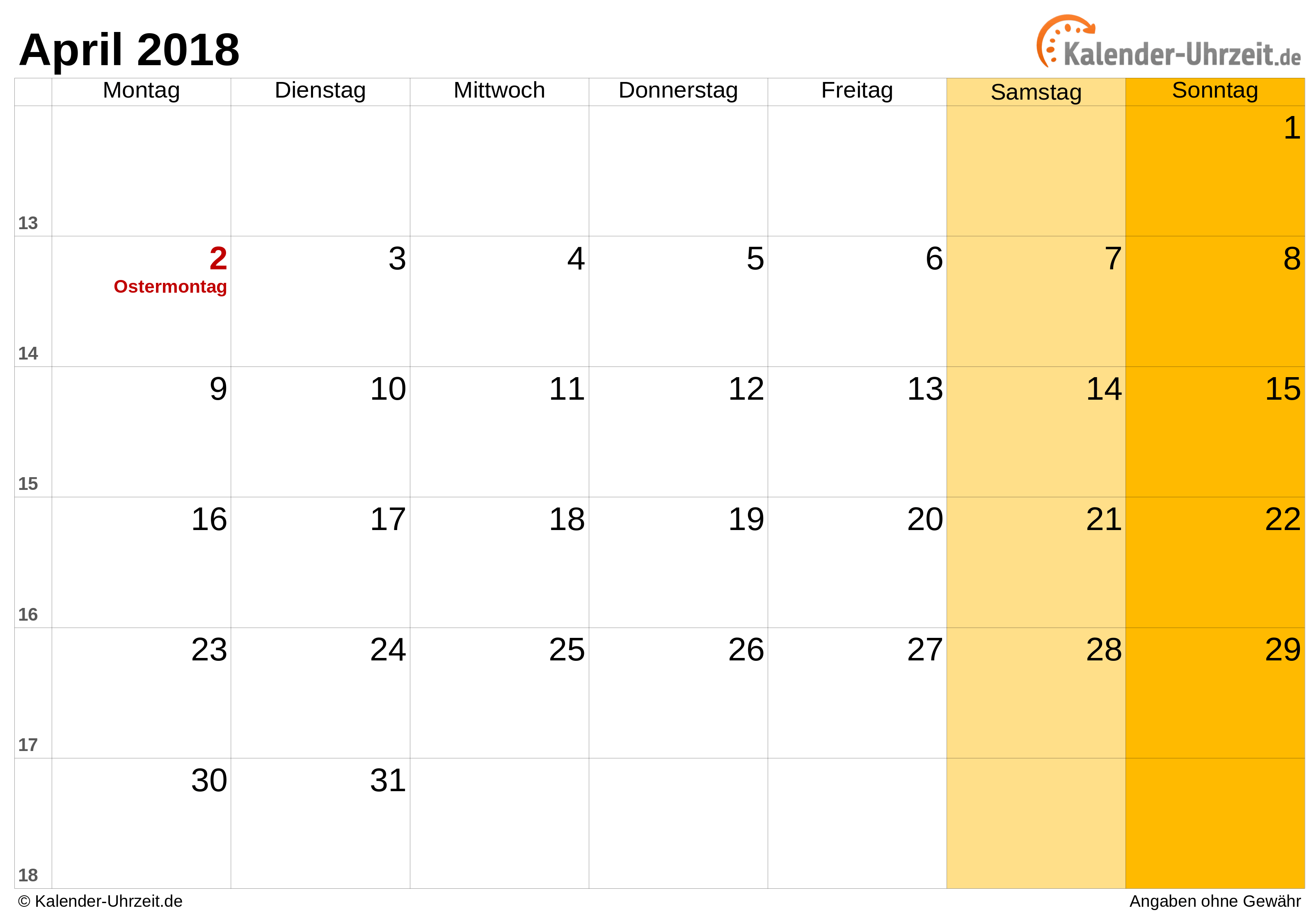 kalenderblatt april 2018
