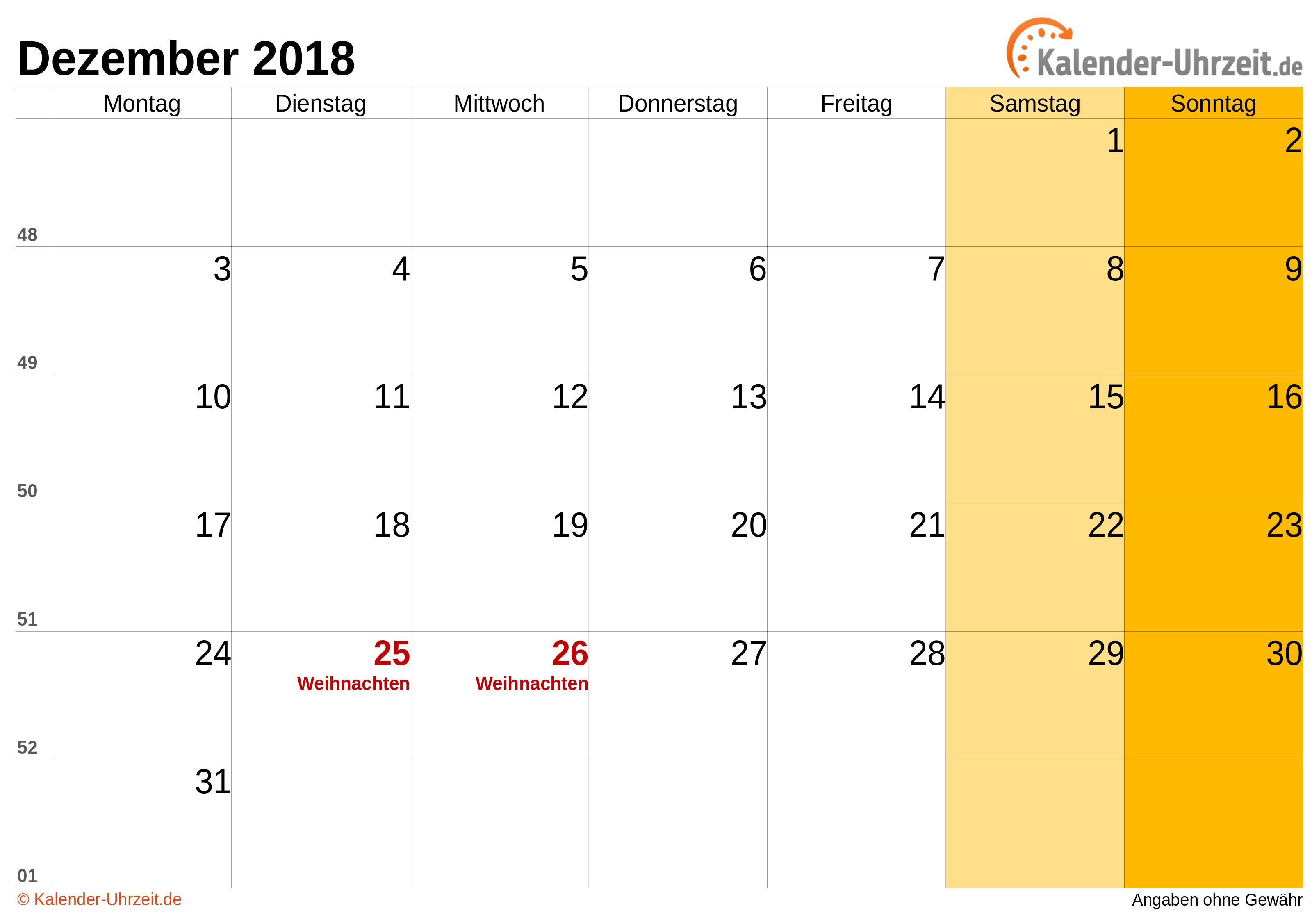 weihnachten 2018 kalender Dezember 2018 Kalender mit Feiertagen weihnachten 2018 kalender