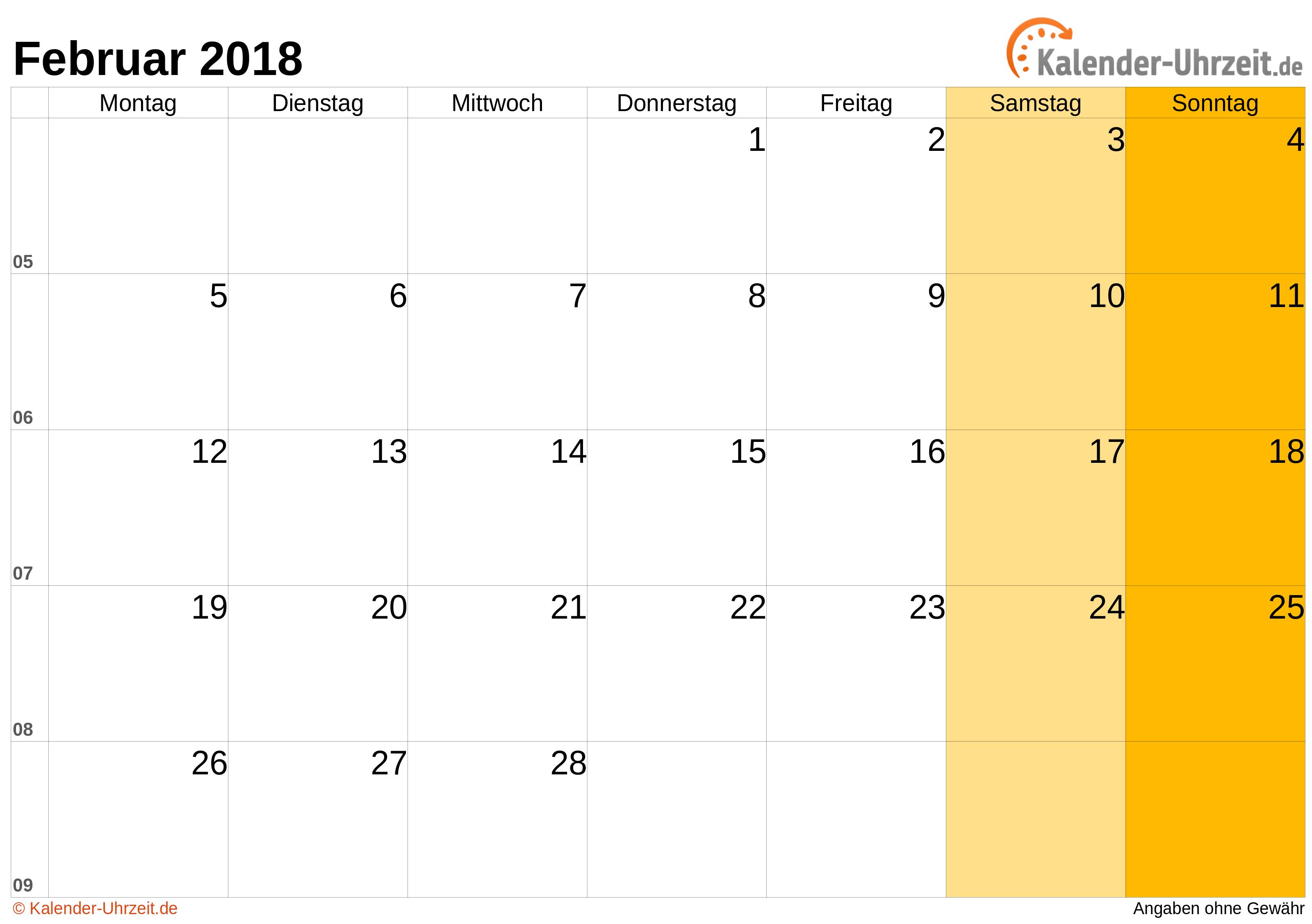 Februar 2018 Kalender mit Feiertagen