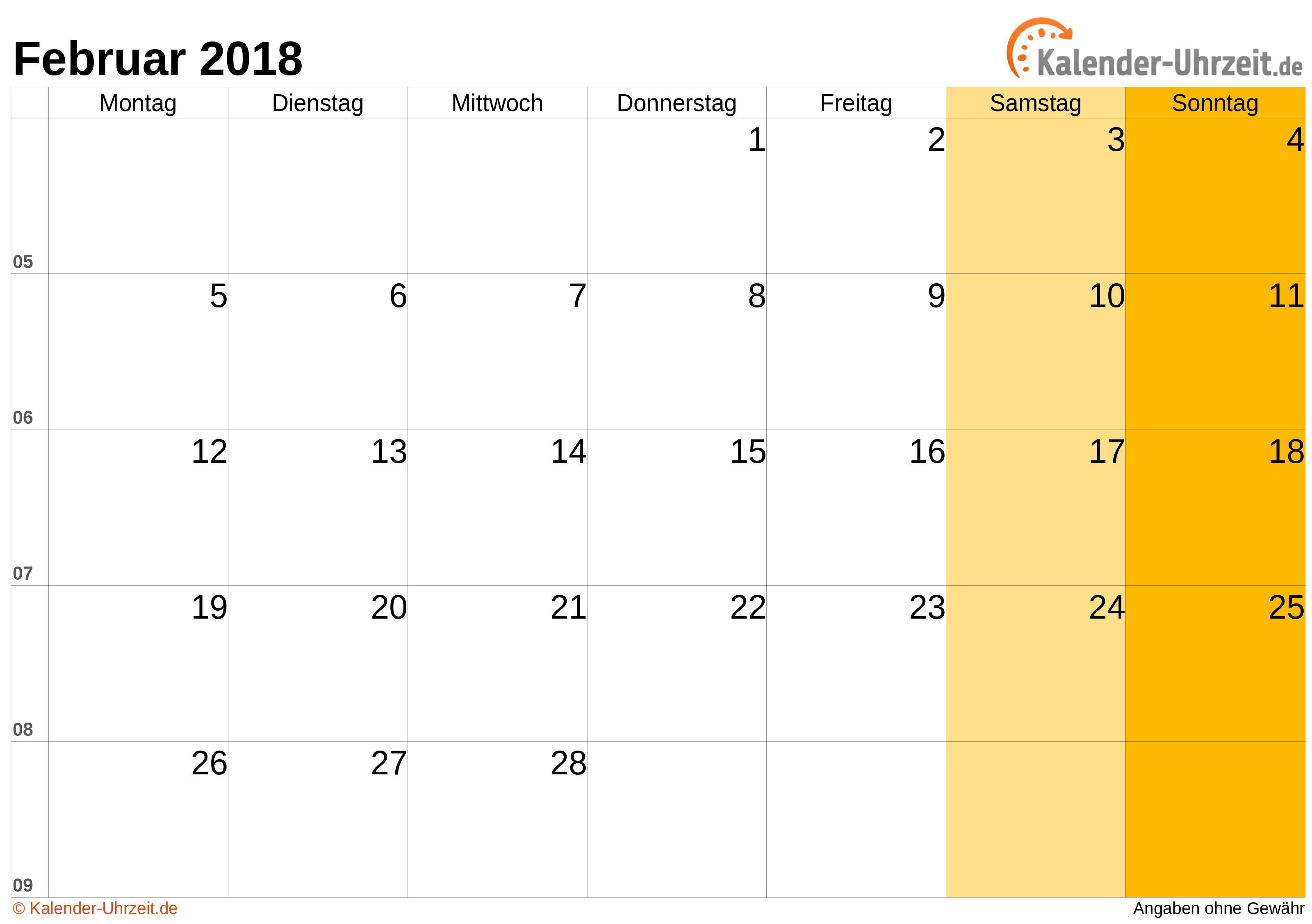 Kalender Februar 2018 mit
