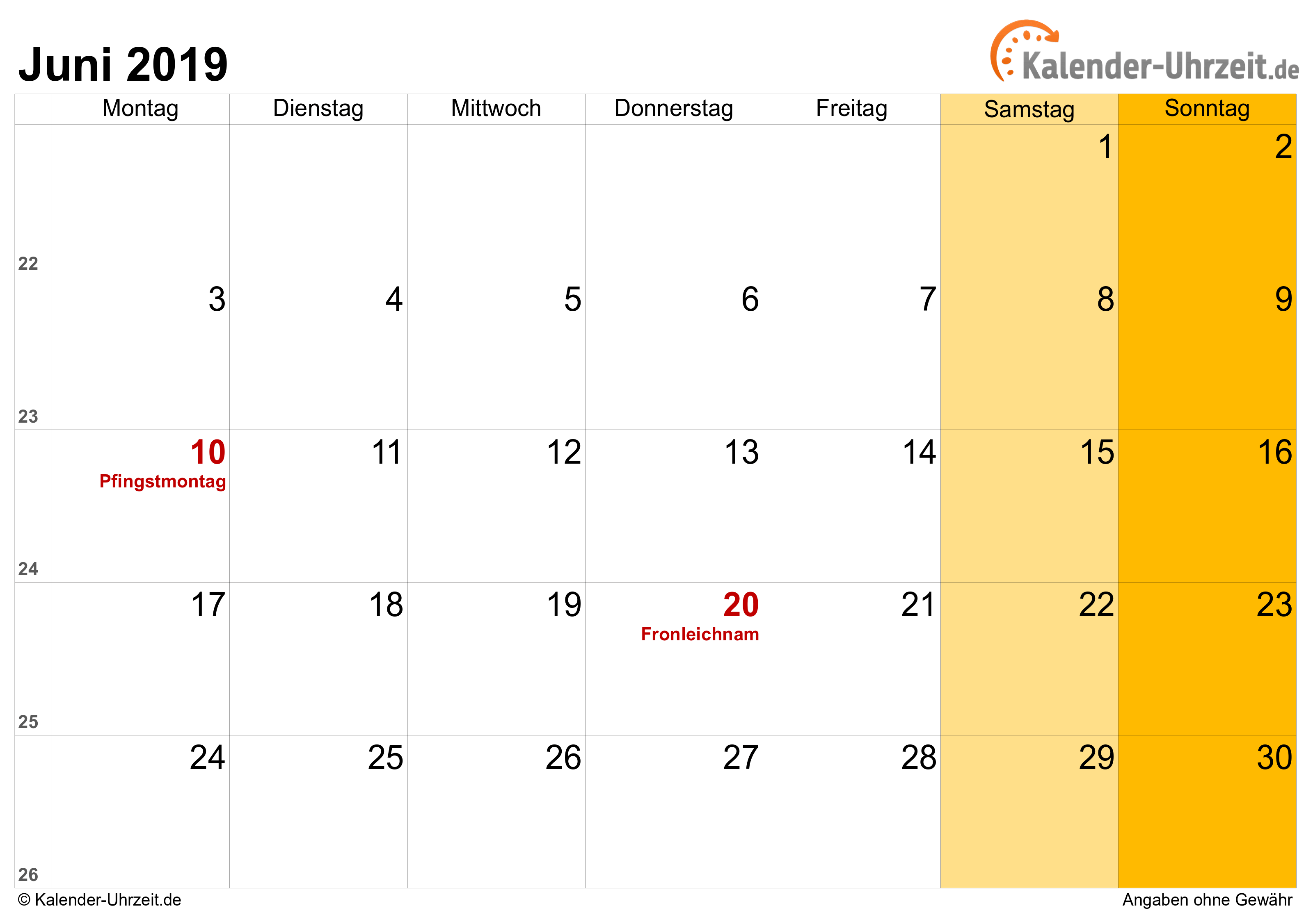Kalender Juni 2019 mit Feiertagen