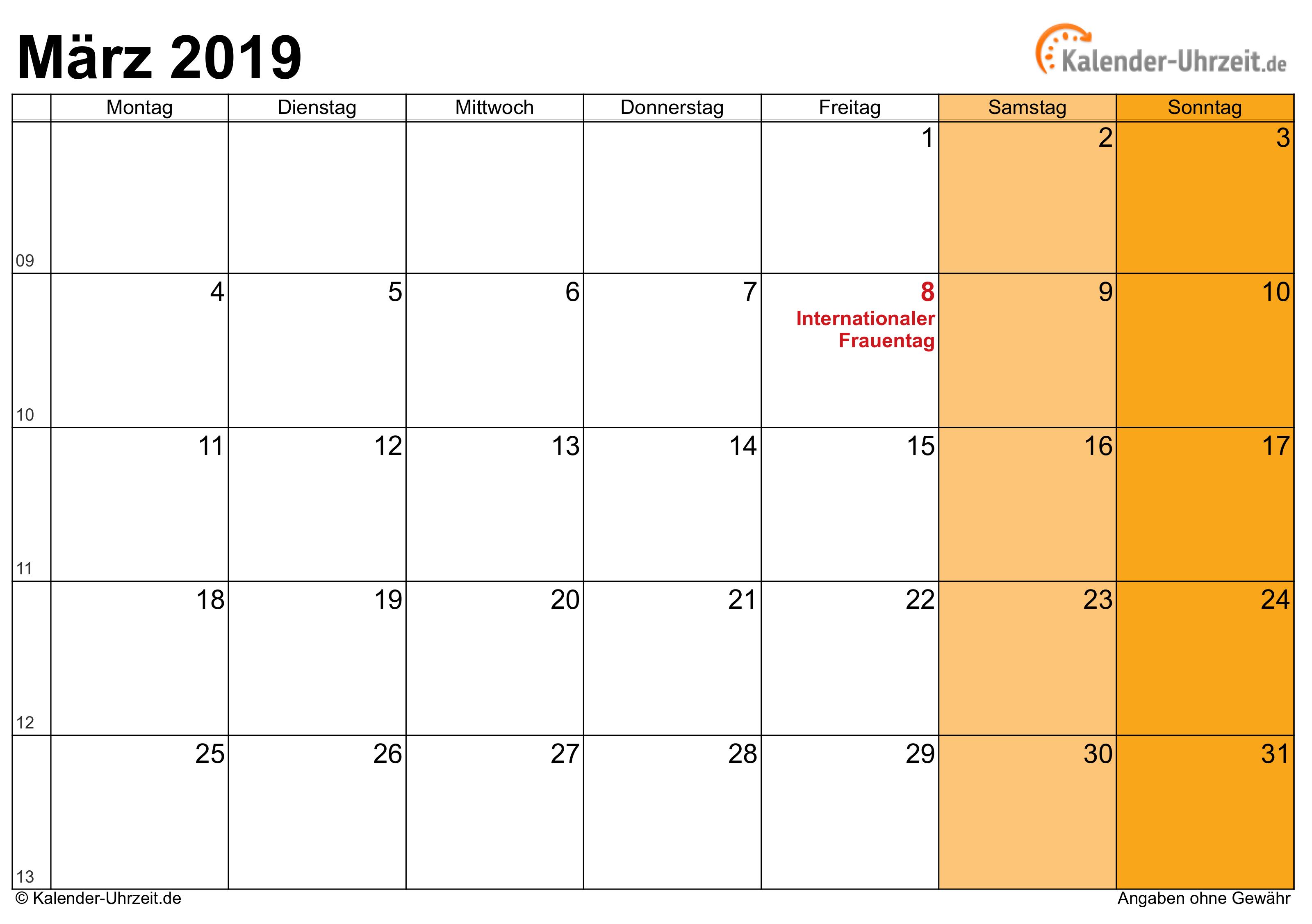 Kalender März 2019 mit Feiertagen