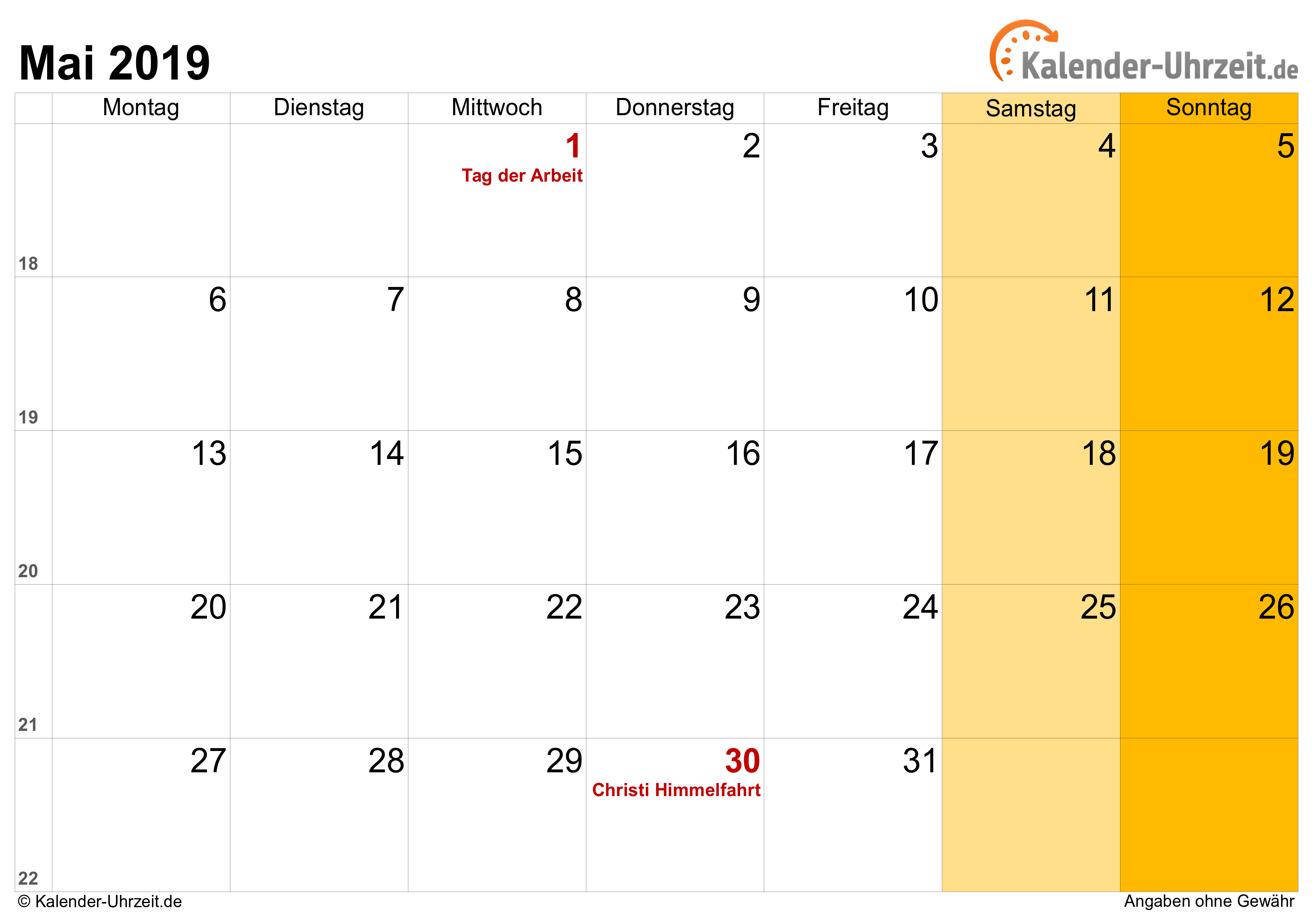 Kalender Mai 2019 mit Feiertagen