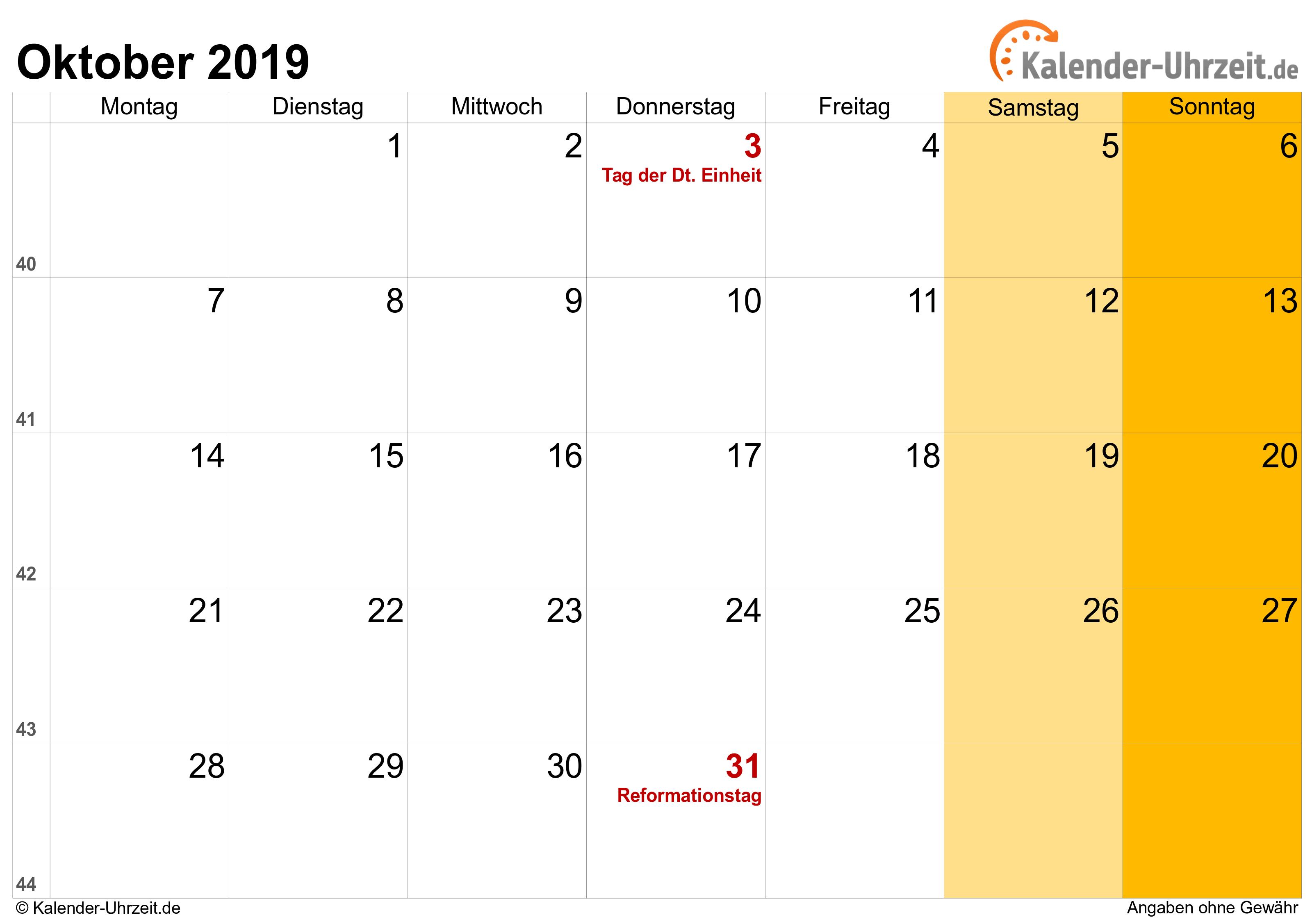 Kalender Oktober 2019 mit Feiertagen