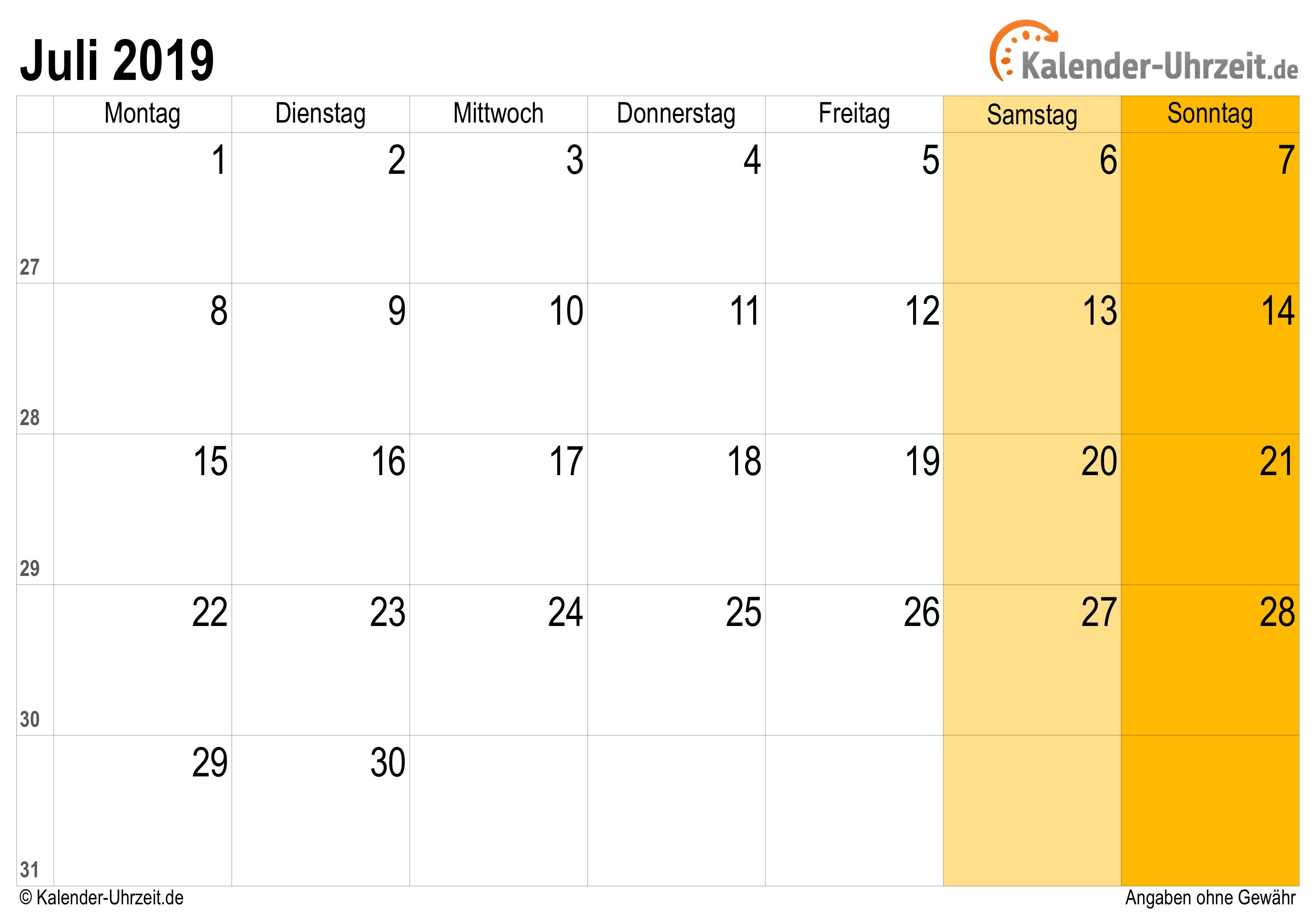 juli 2019 kalender mit feiertagen. Black Bedroom Furniture Sets. Home Design Ideas