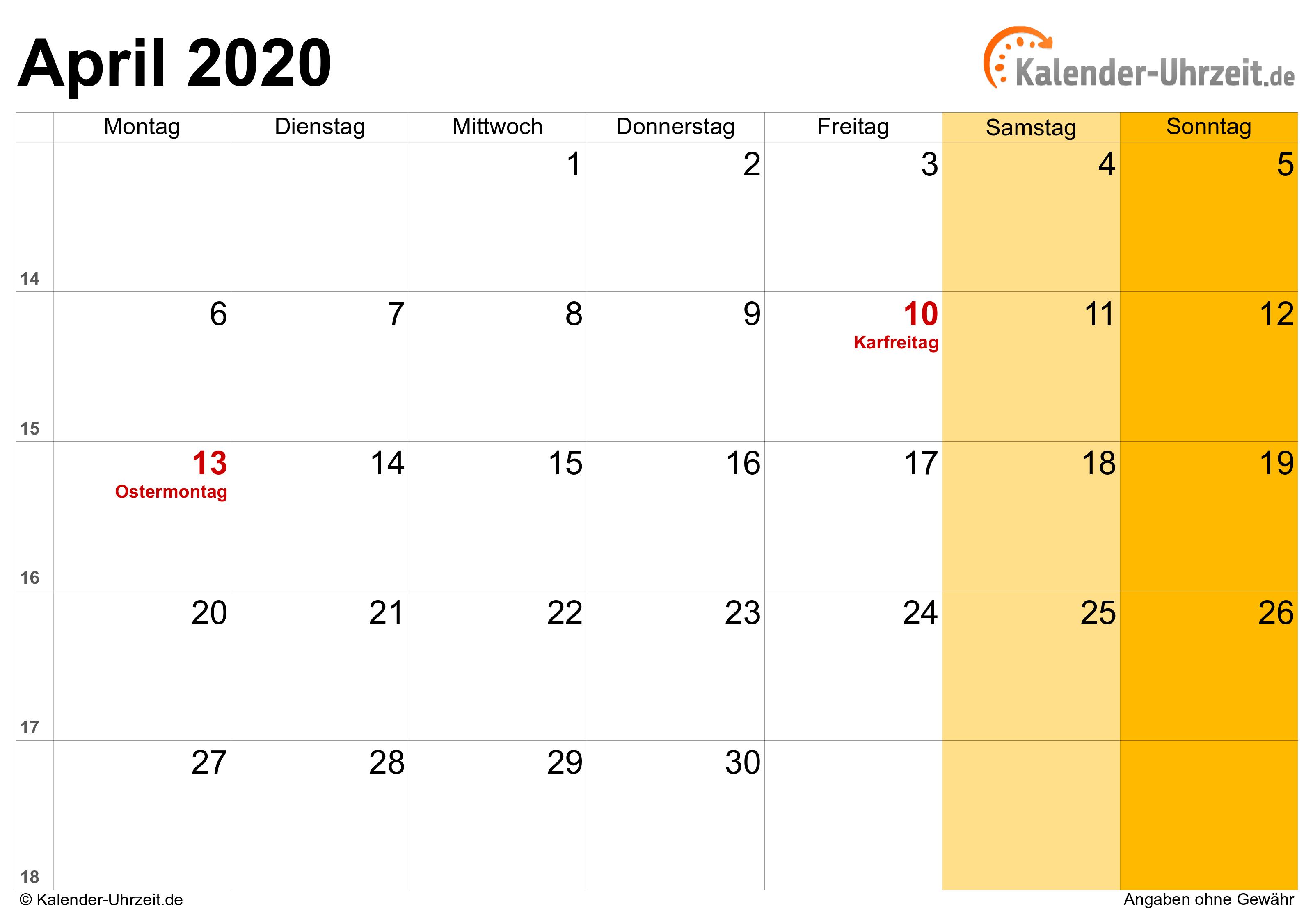April 2020 Kalender Mit Feiertagen