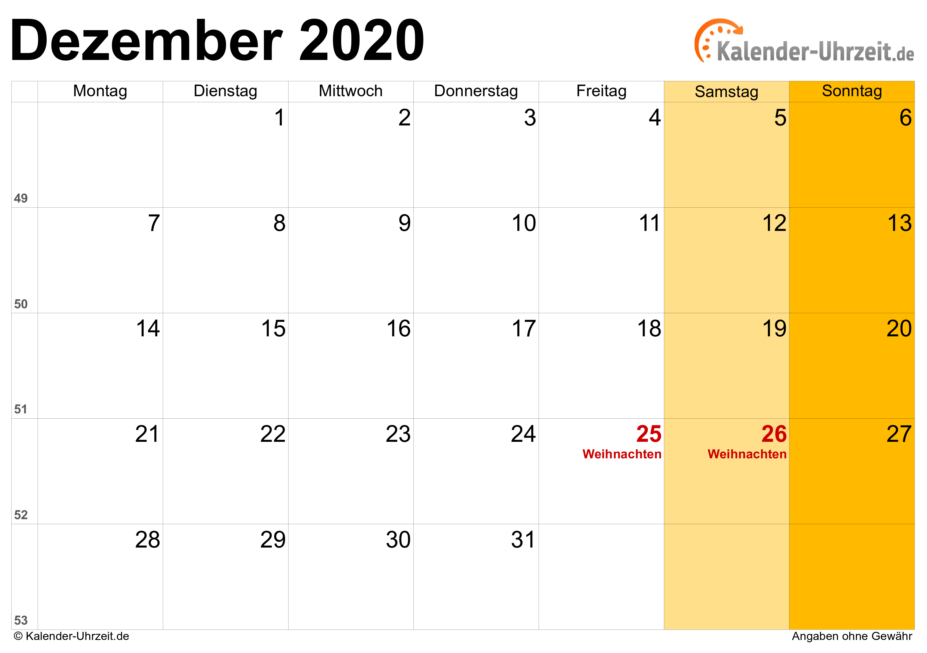 dezember 2020 kalender mit feiertagen. Black Bedroom Furniture Sets. Home Design Ideas