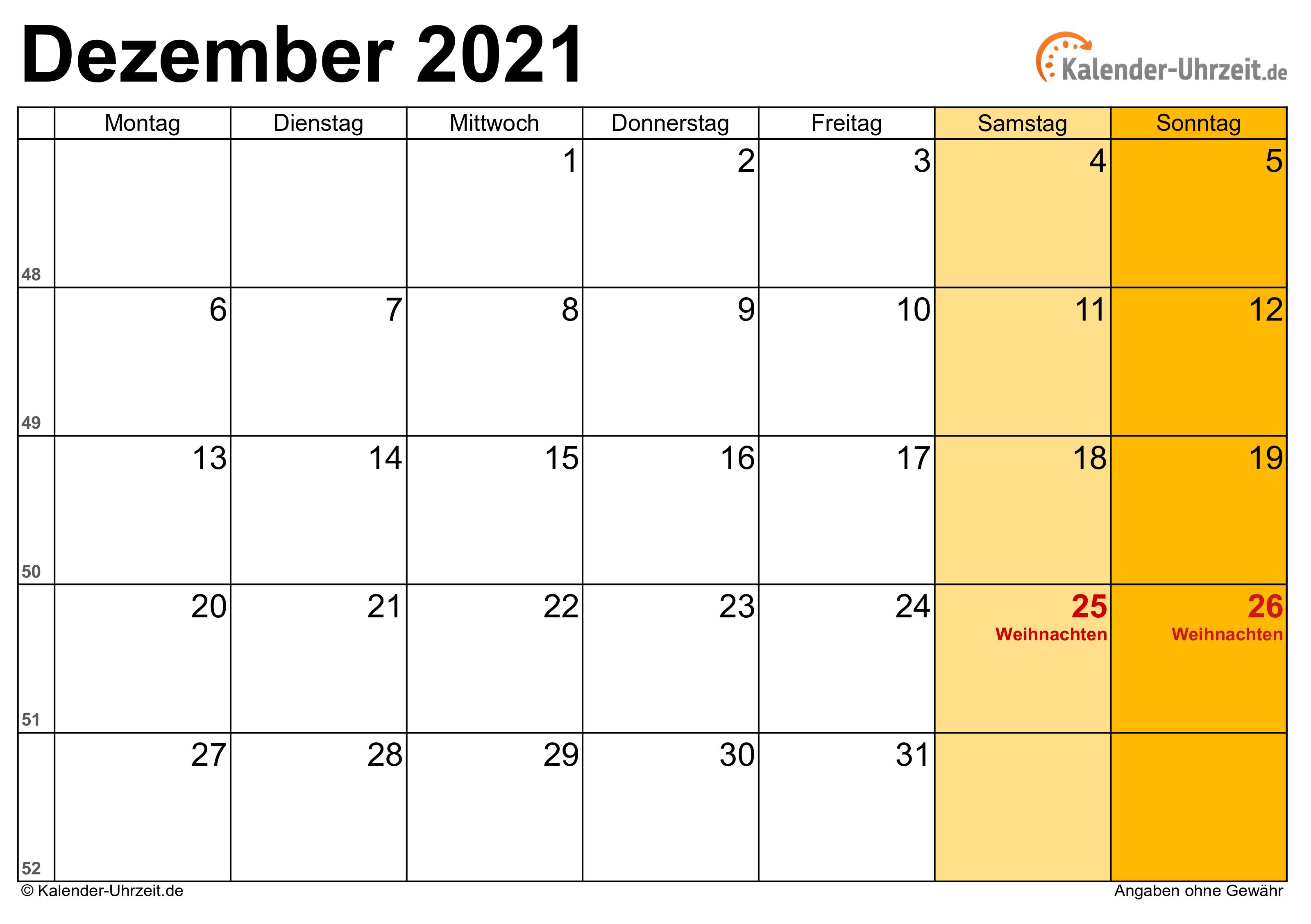 Dezember Feiertage 2021