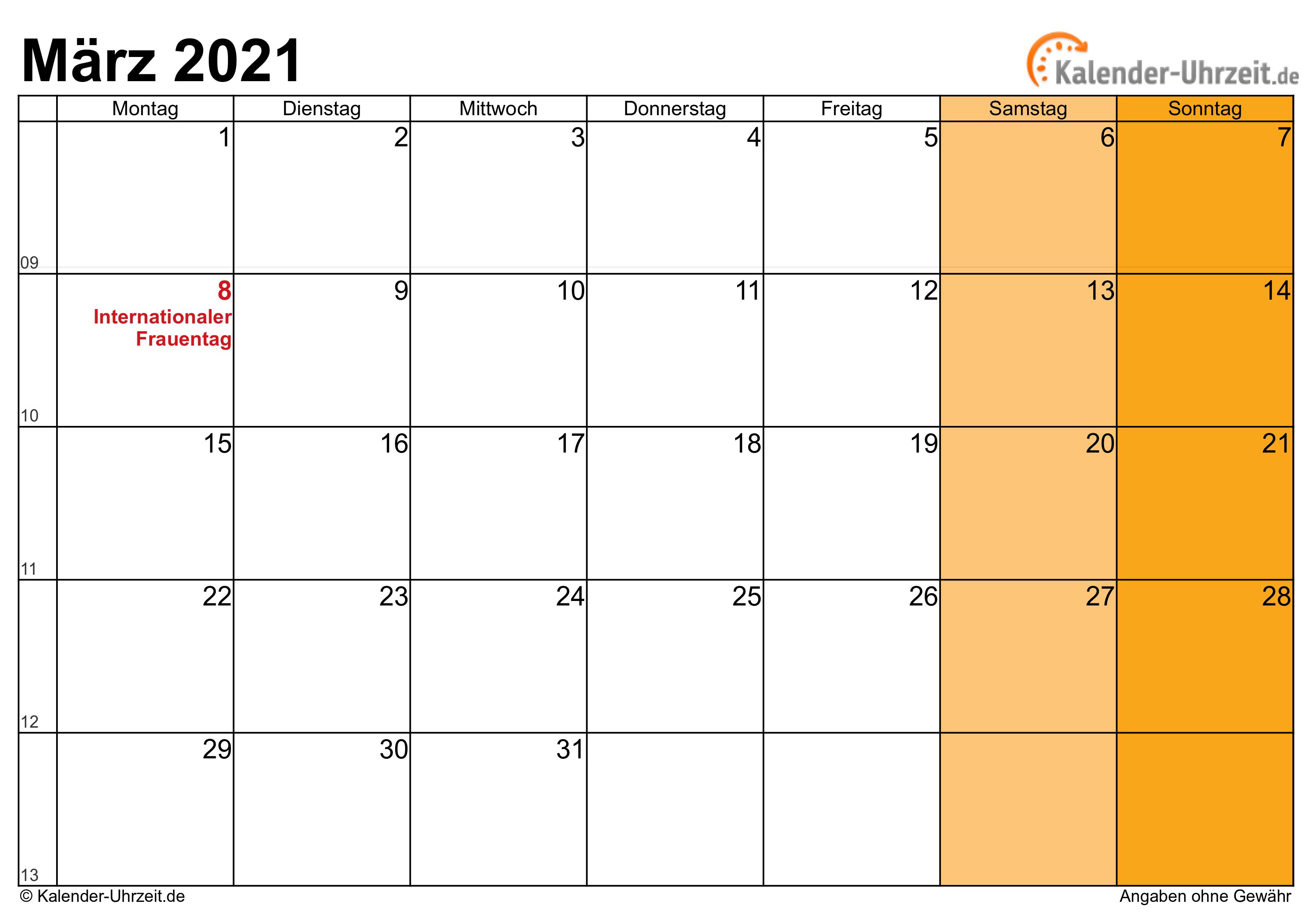 März 2021 Kalender mit Feiertagen
