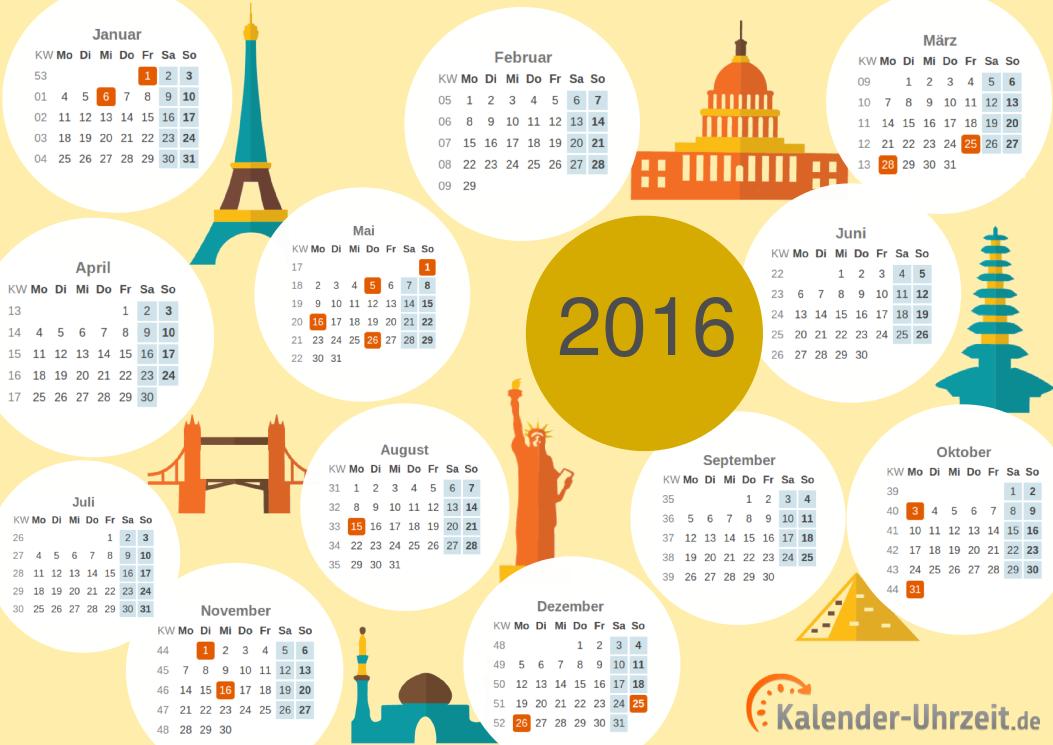 PDF-Kalender 2016 mit Weltenbummler-Motiv downloaden