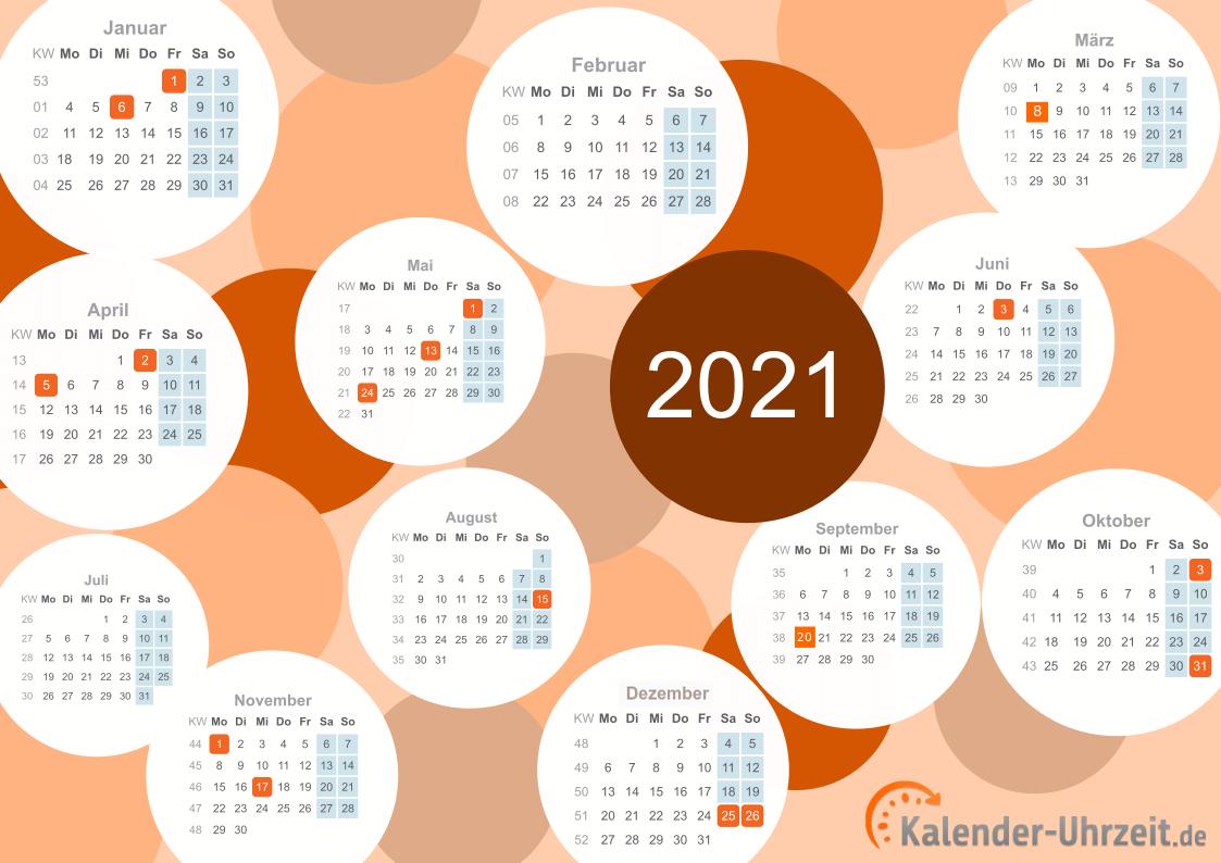 KALENDER 2021 ZUM AUSDRUCKEN - KOSTENLOS