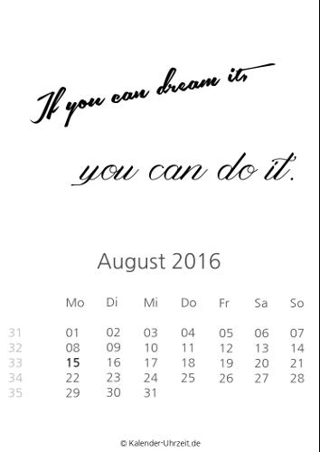 August-Kalender 2016 zum Ausdrucken - Sprüche-Kalender