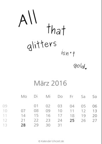 März-Kalender 2016 zum Ausdrucken - Sprüche-Kalender