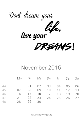 kalender 2016 zum ausdrucken - kostenlos