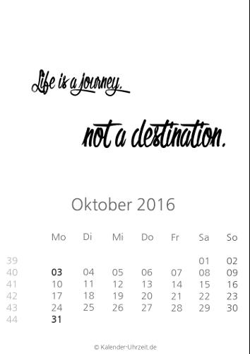 Oktober-Kalender 2016 zum Ausdrucken - Sprüche-Kalender