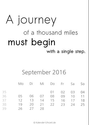 September-Kalender 2016 zum Ausdrucken - Sprüche-Kalender