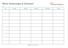 Vorlesungsplan als Excel blau