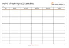 Vorlesungsplan als Excel orange