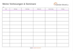 Vorlesungsplan als Excel lila