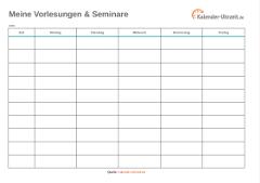 Vorlesungsplan als Excel türkis