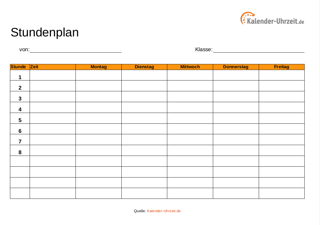 Stundenplan Vorlagen