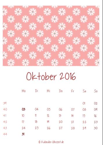 Oktober-Kalender 2016 zum Ausdrucken - Vintage-Kalender
