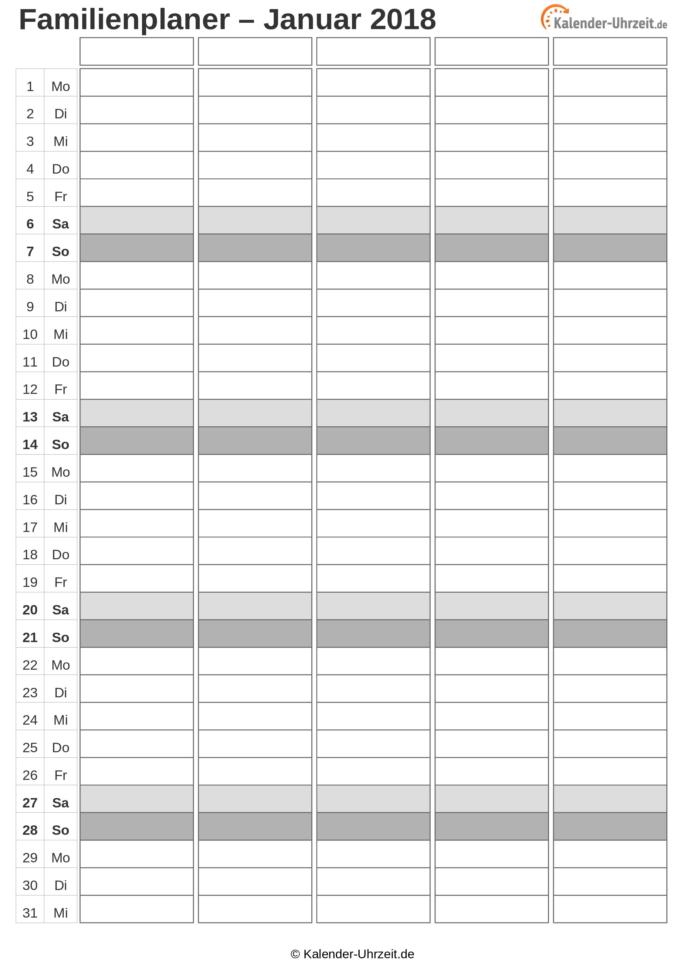 Familienkalender 2018 Vorlage 2 Vorschau