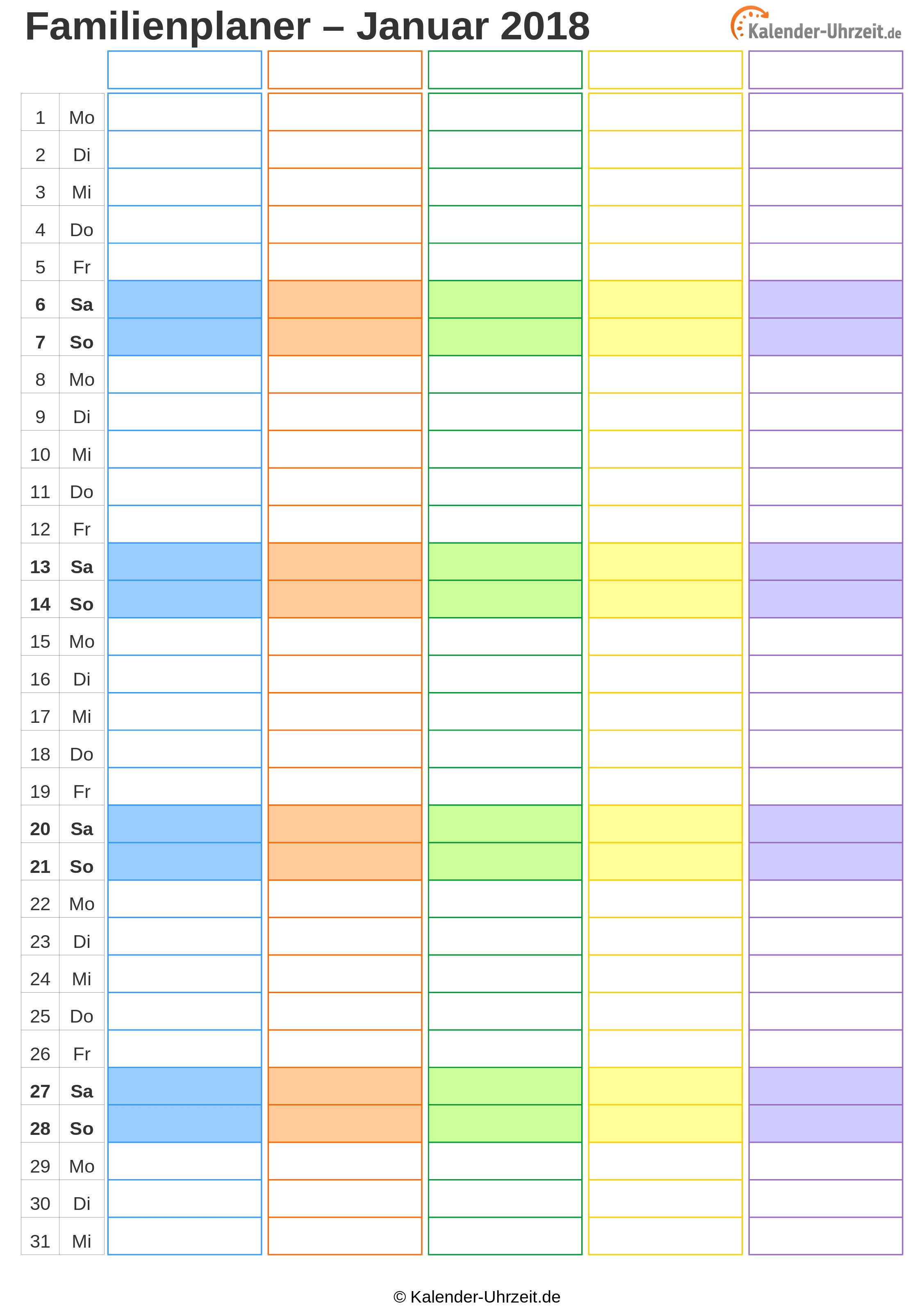Excel Kalender 2018 Kostenlos