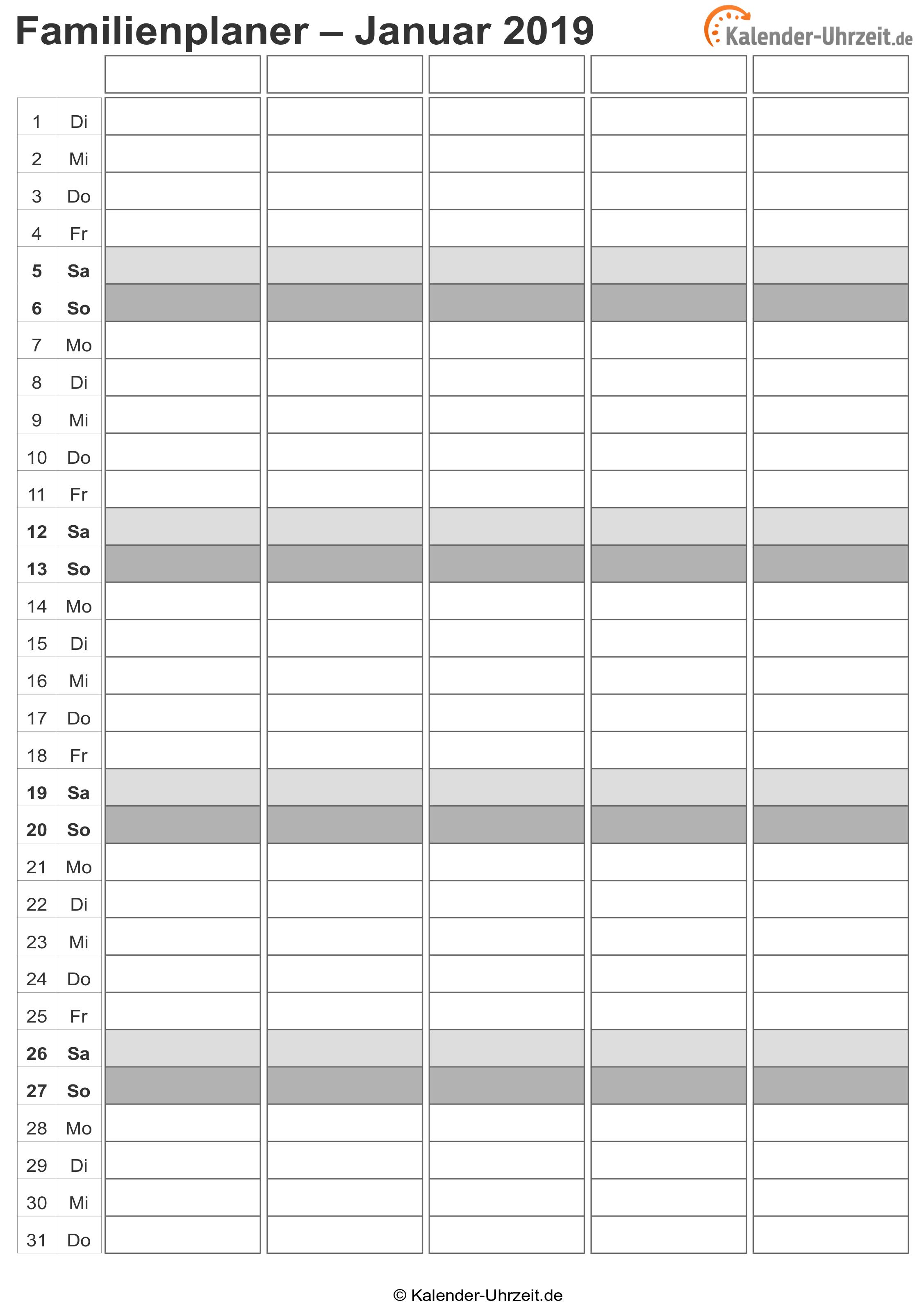 Familienkalender 2019 Vorlage 2 Vorschau