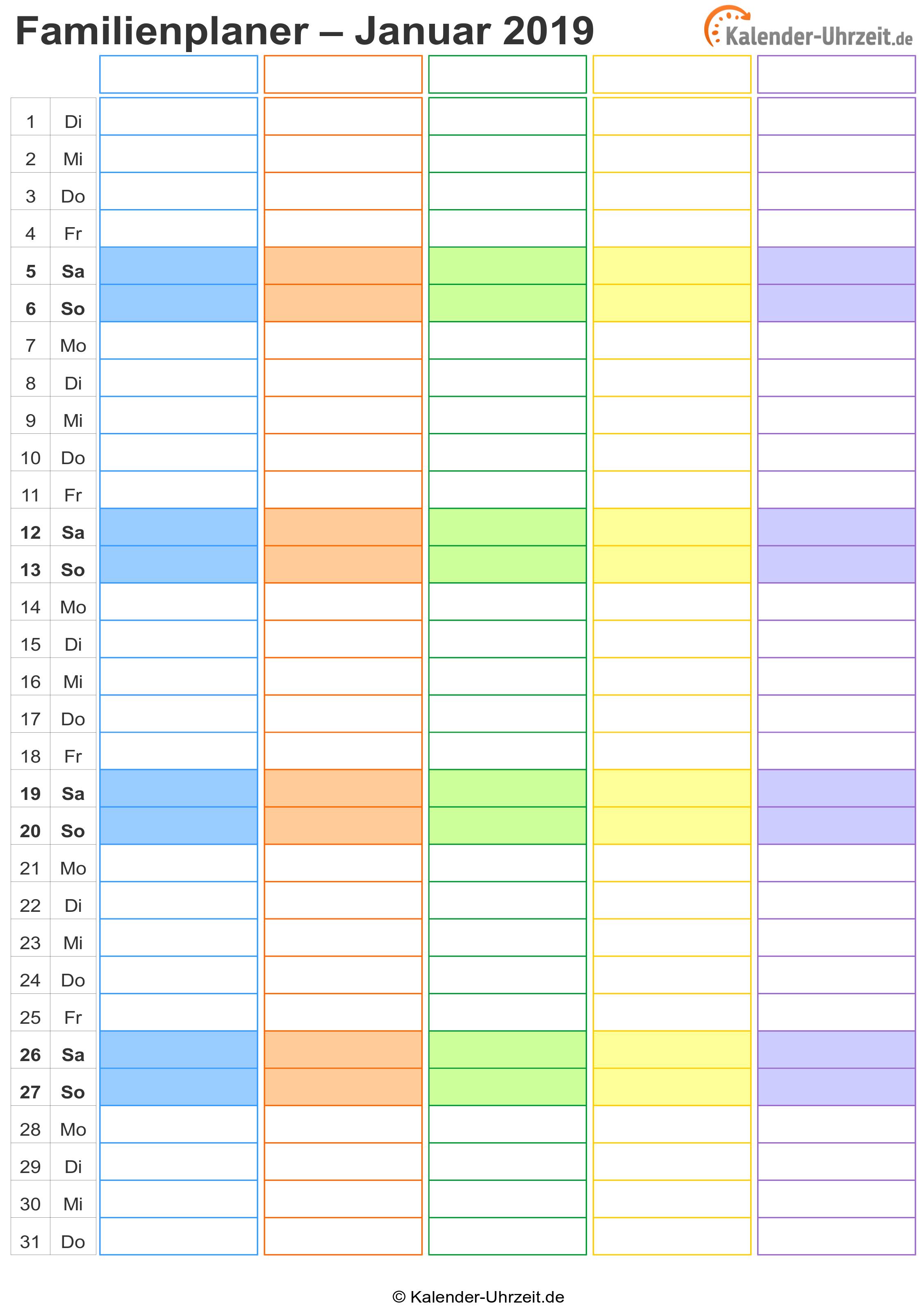 Familienkalender 2019 Vorlage 1 Vorschau