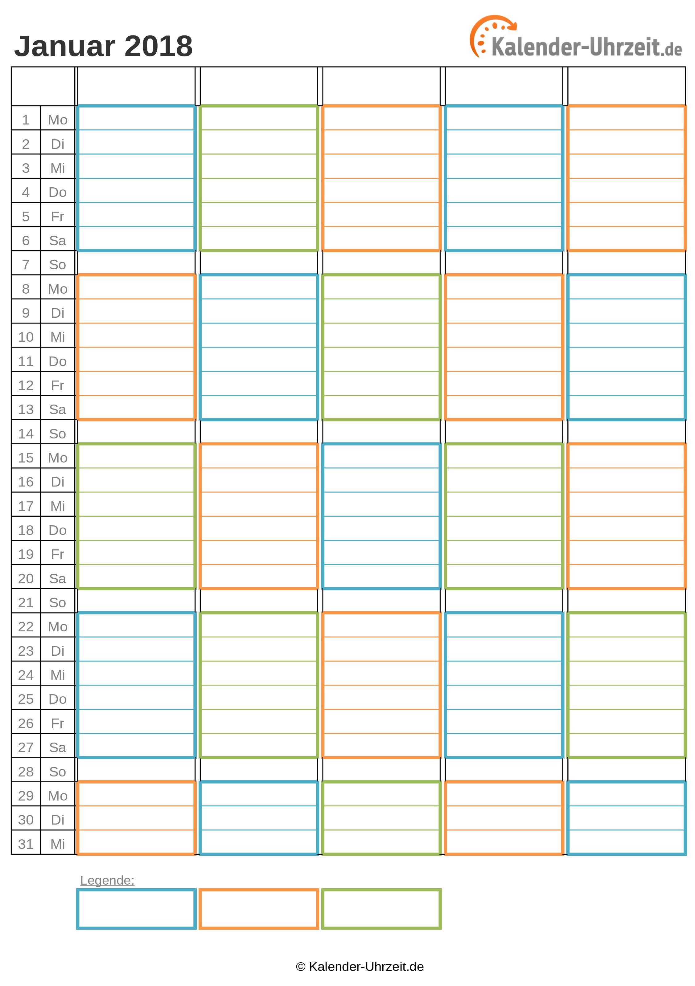 WG-Kalender 2018 drei Personen Vorschau