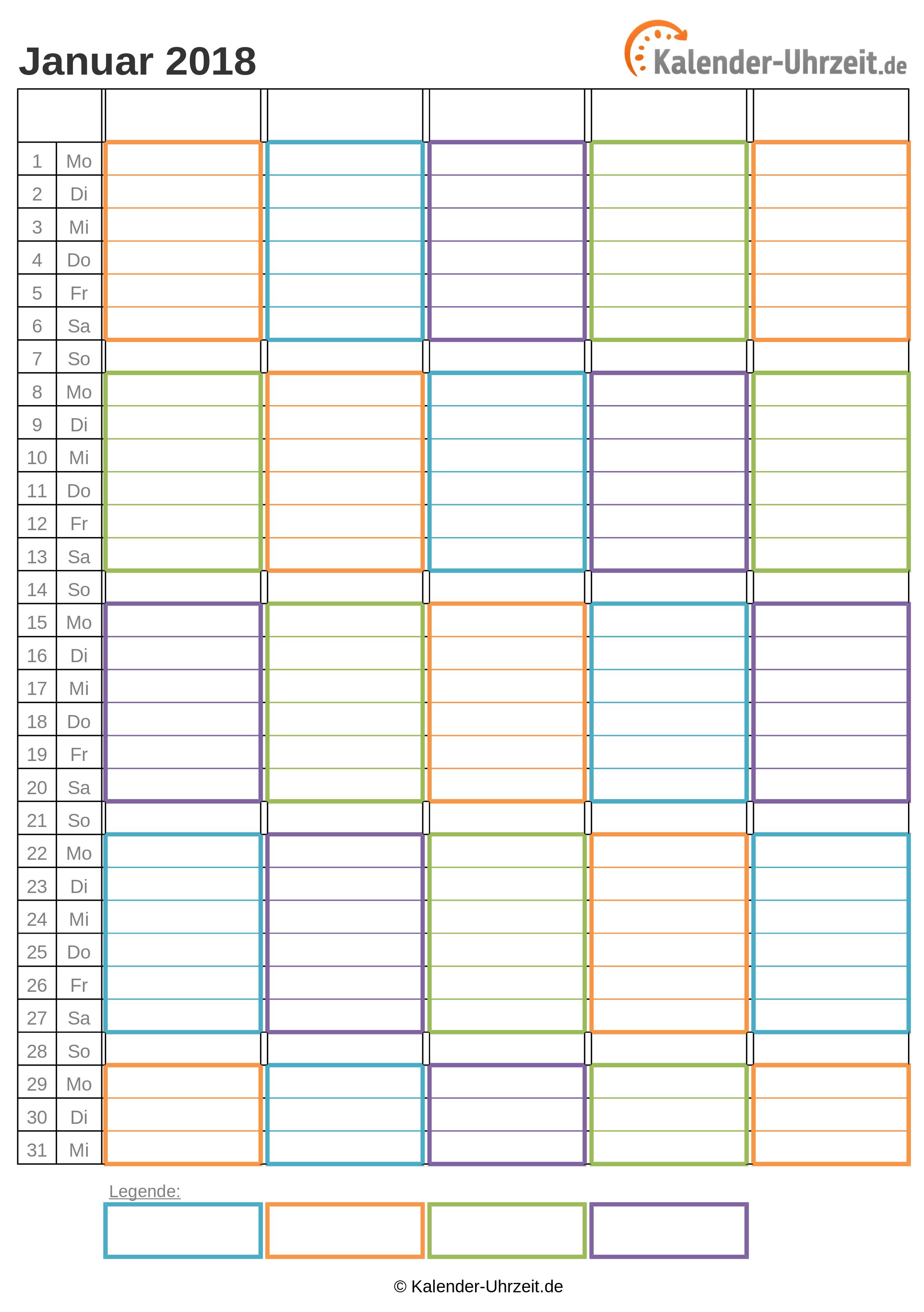WG-Kalender 2018 vier Personen Vorschau