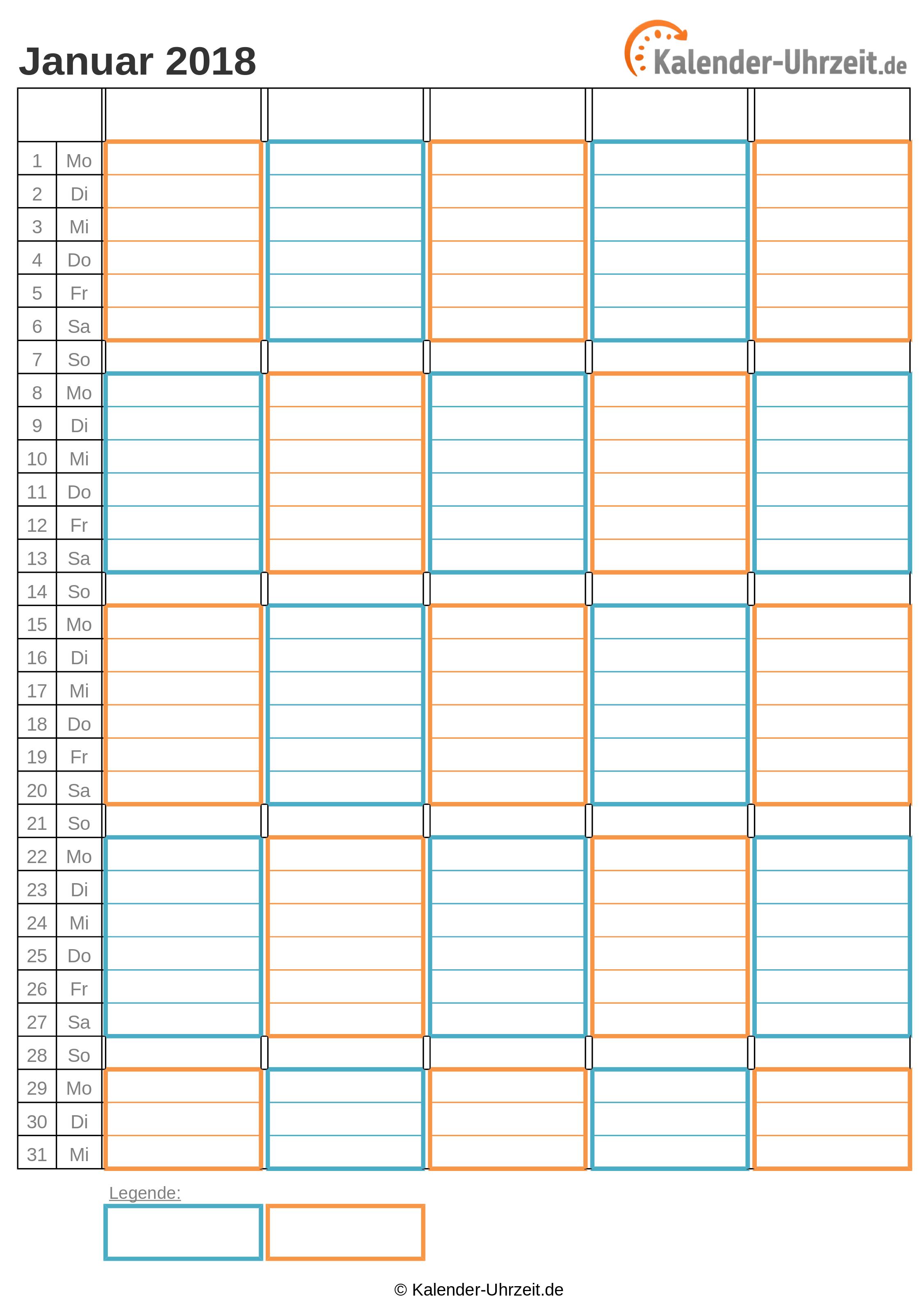 WG-Kalender 2018 zwei Personen Vorschau