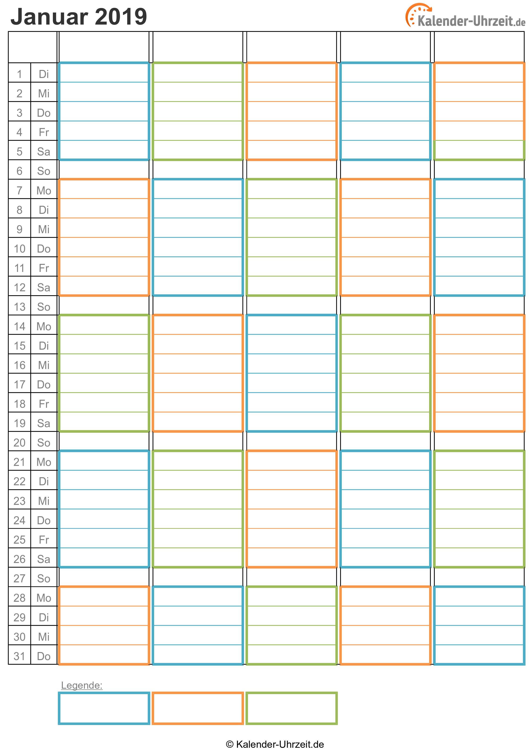 WG-Kalender 2019 drei Personen Vorschau