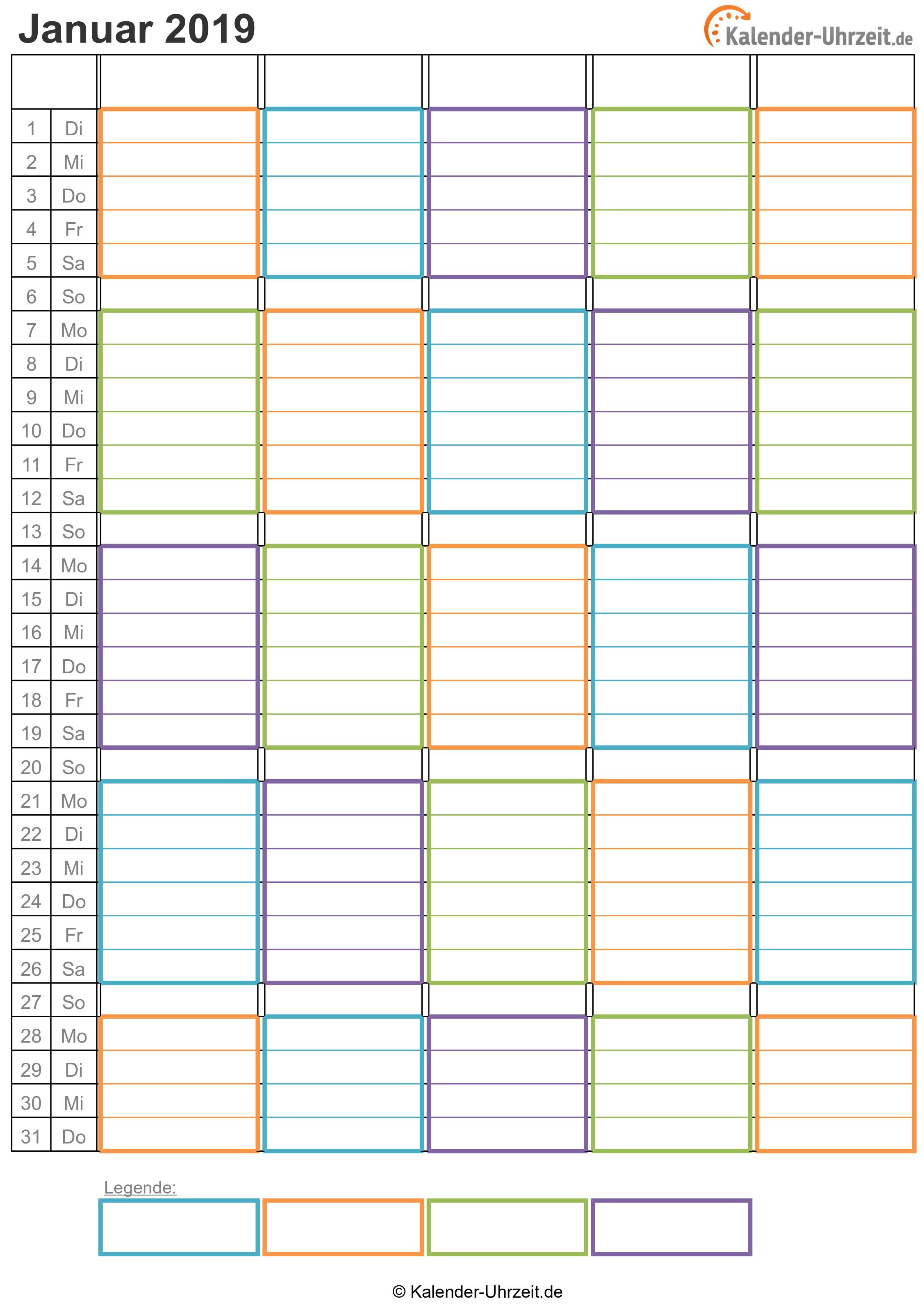 WG-Kalender 2019 vier Personen Vorschau