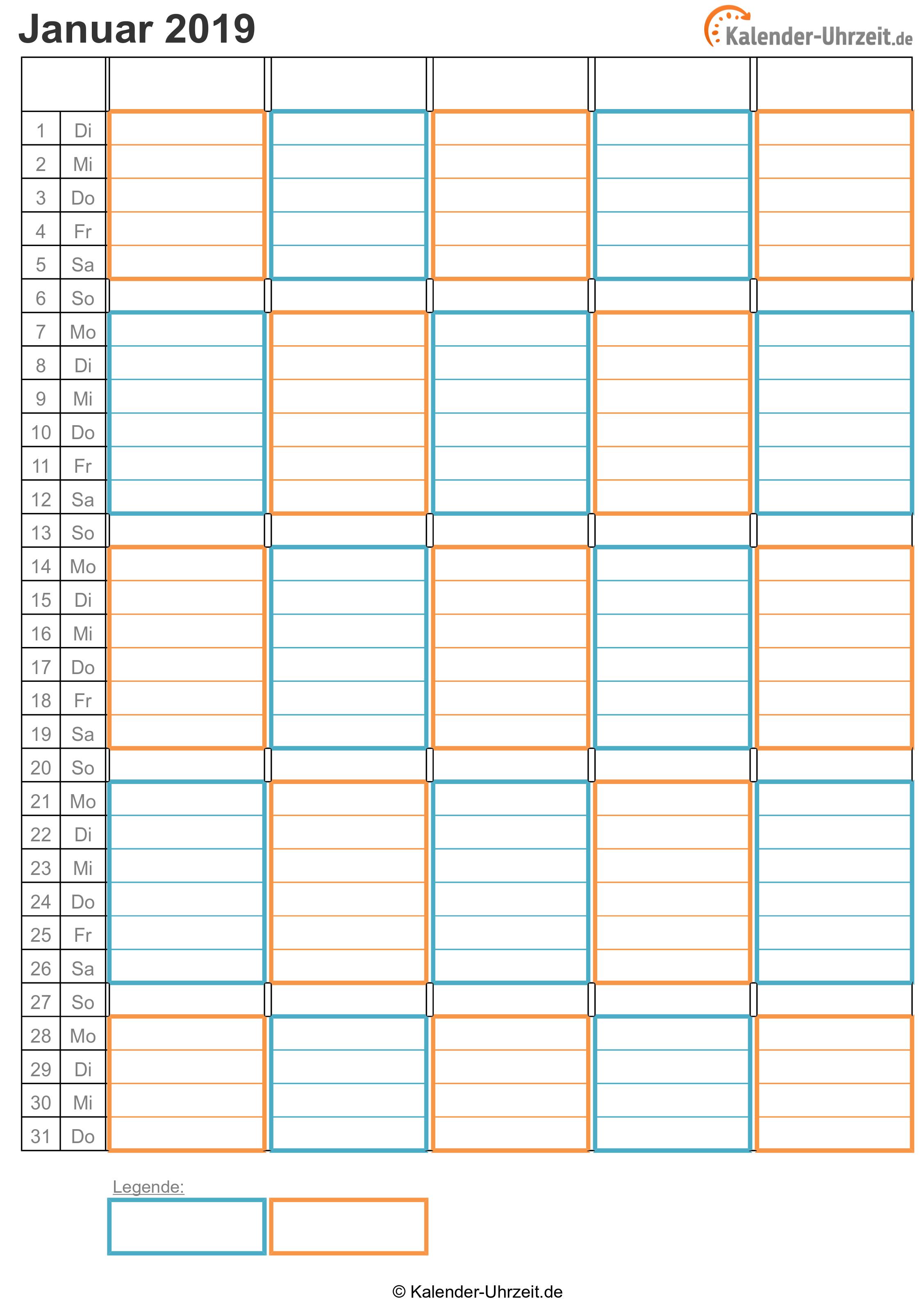 WG-Kalender 2019 zwei Personen Vorschau