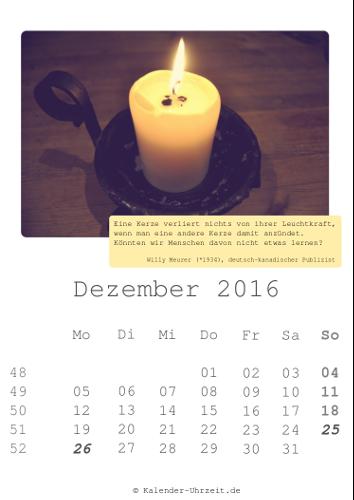 Dezember-Kalender 2016 zum Ausdrucken - Zitate-Kalender