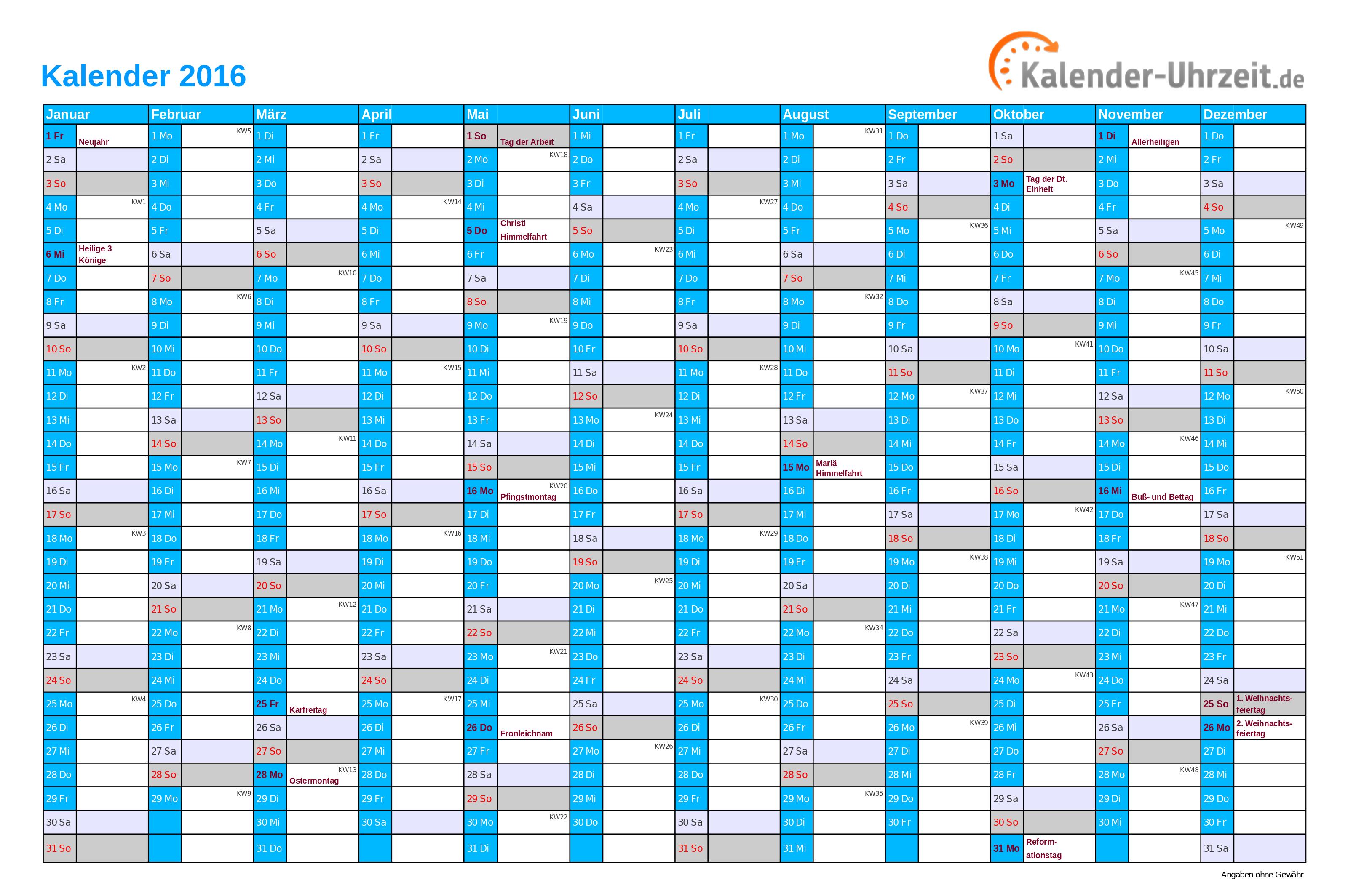 A/ars Kalender 2016 For Utskrift | Template Printable