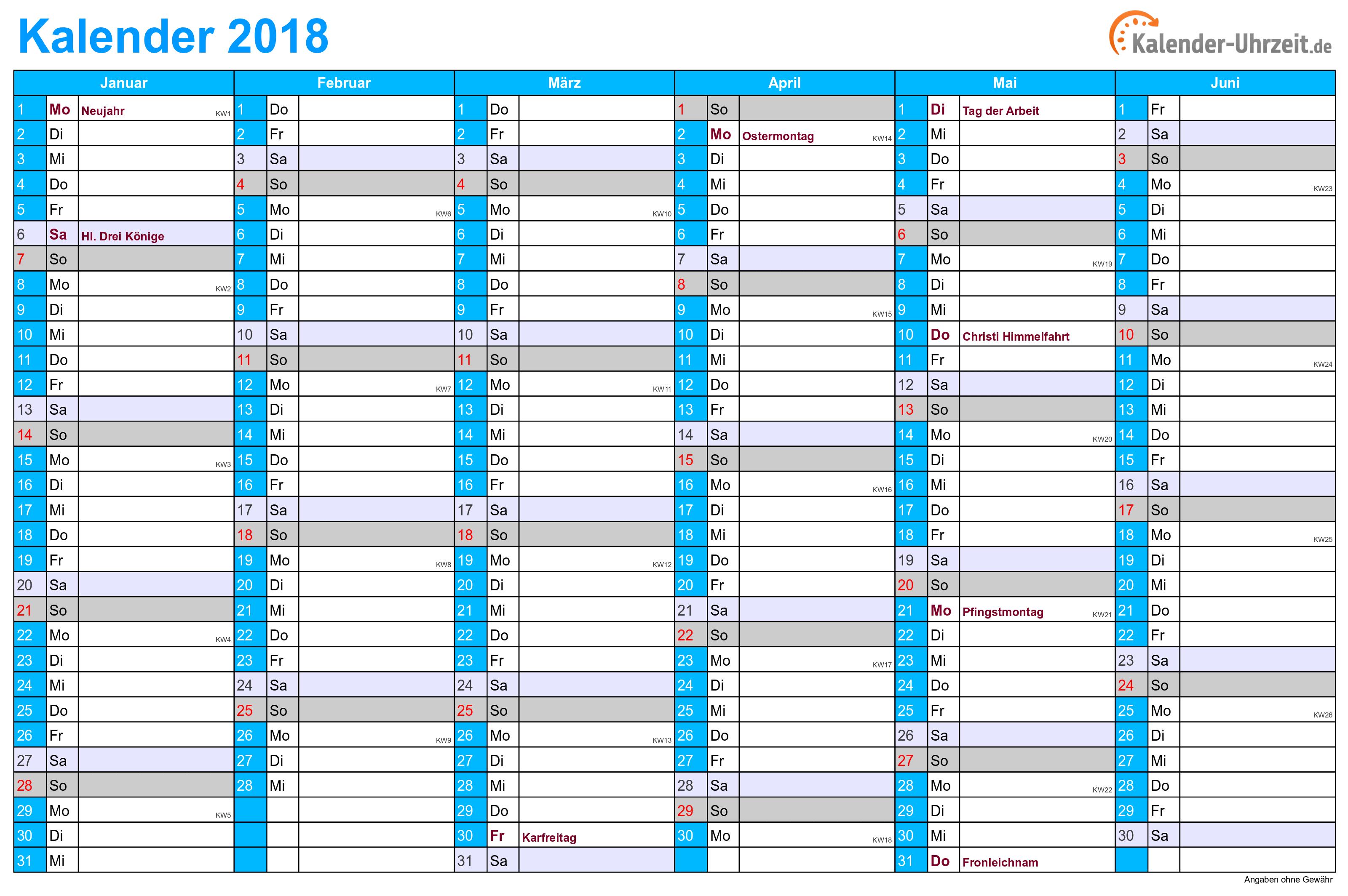 Kalender 2018 mit Feiertagen - 2-seitig - A4-Querformat