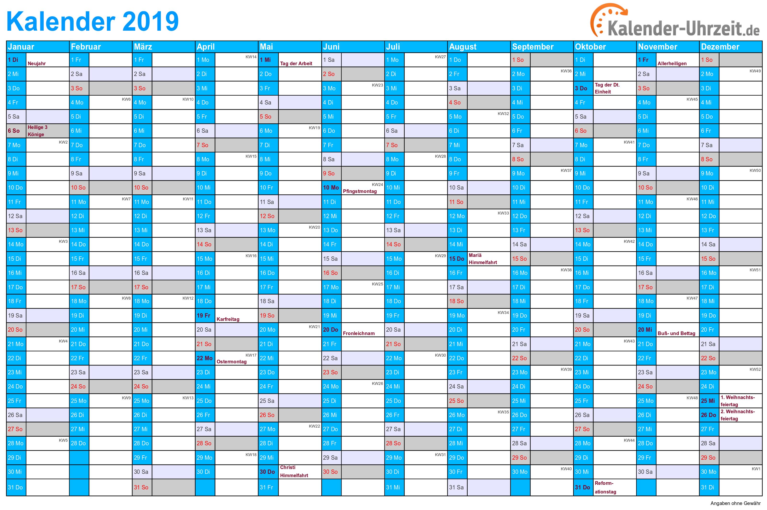 Jahreskalender 2019 mit Feiertagen - 1-seitig - A4-Querformat