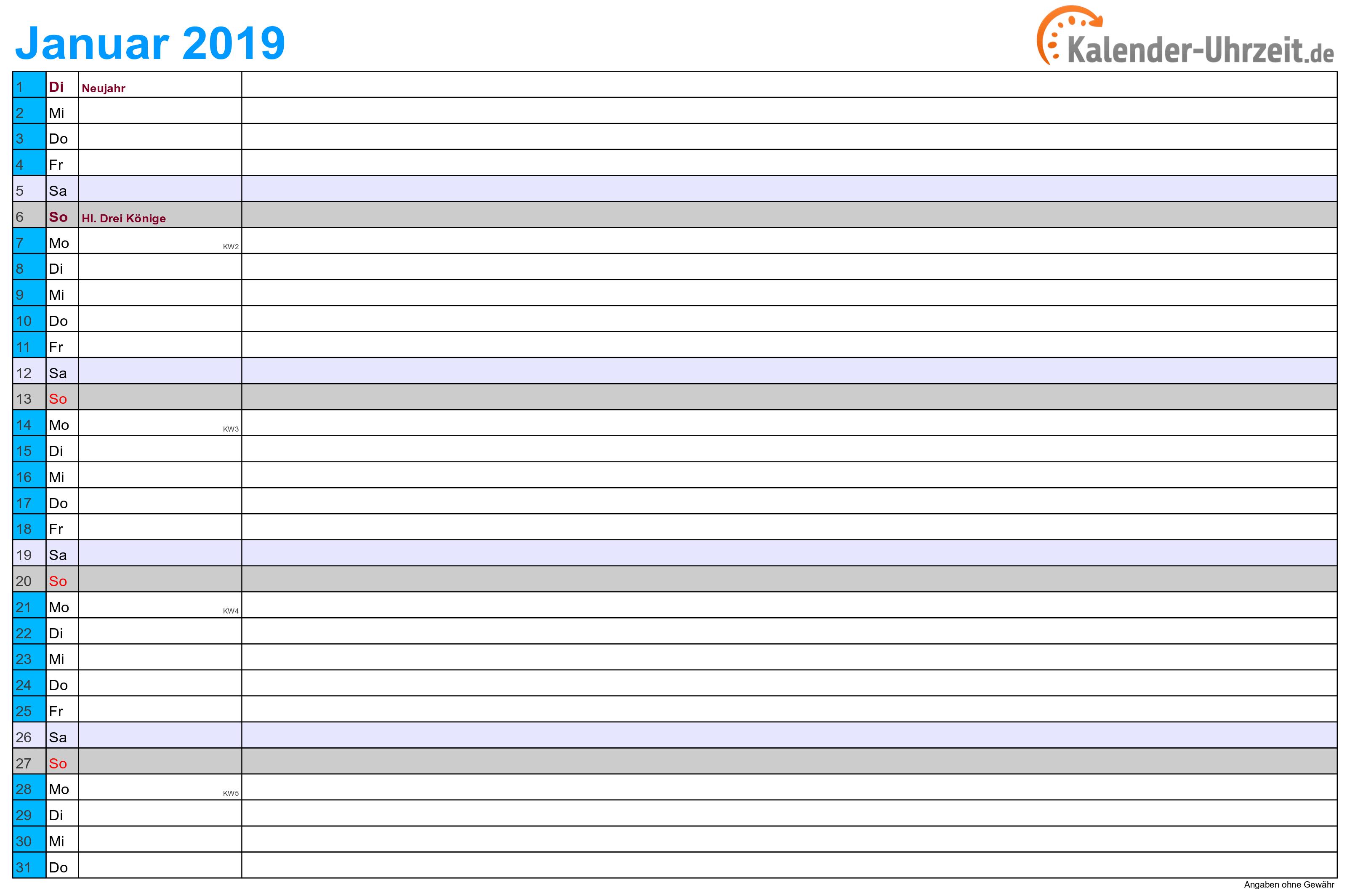 Monatskalender 2019 mit Feiertagen - 12-seitig - A4-Querformat