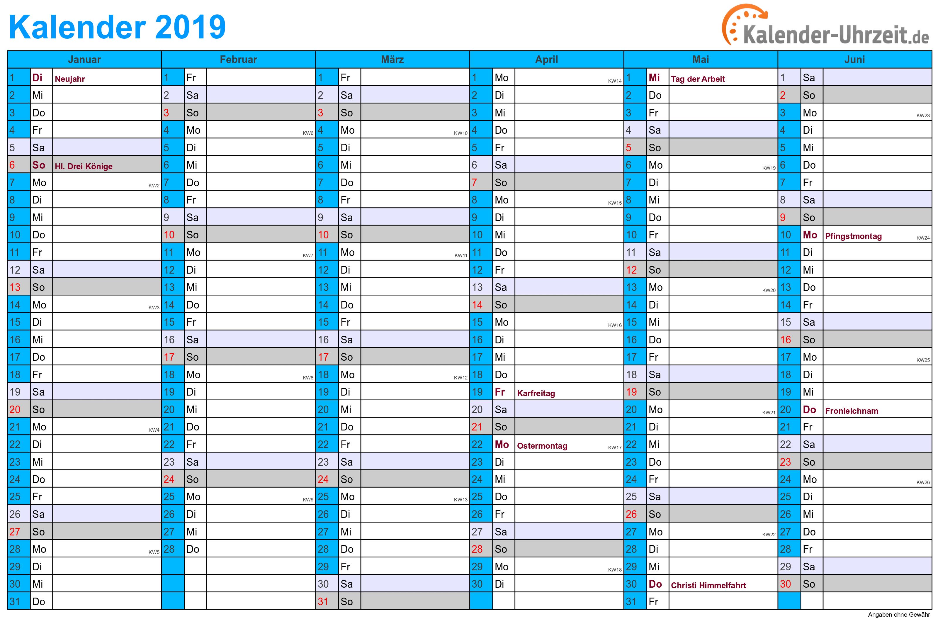Kalender 2019 mit Feiertagen - 2-seitig - A4-Querformat