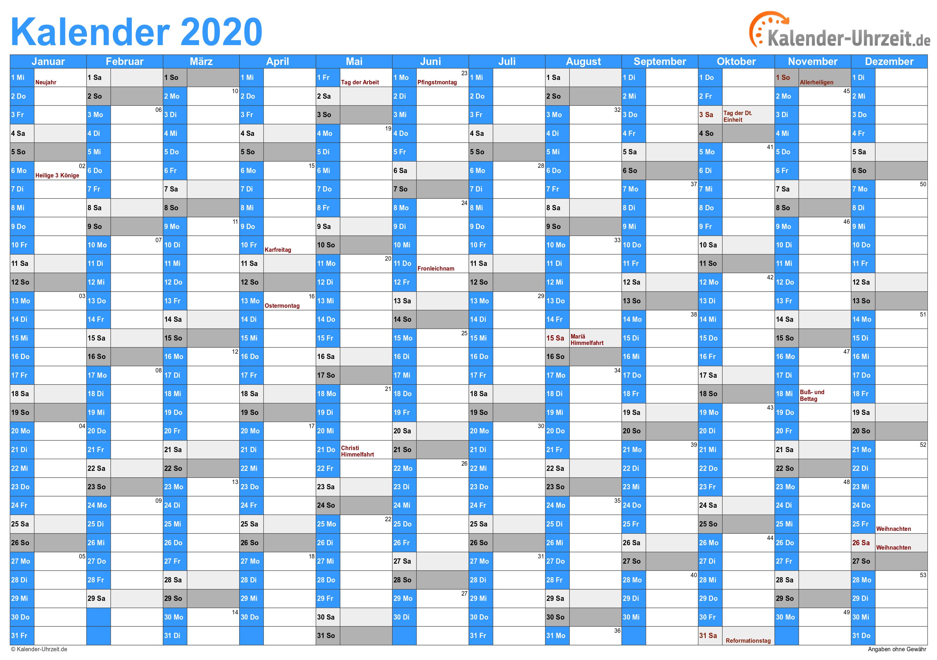 excelkalender 2020  kostenlos